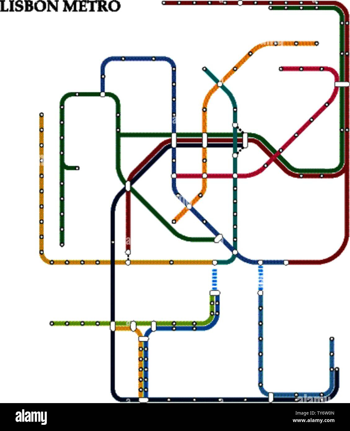 Subway Map Of Lisbon.Map Of The Lisbon Metro Subway Template Of City Transportation