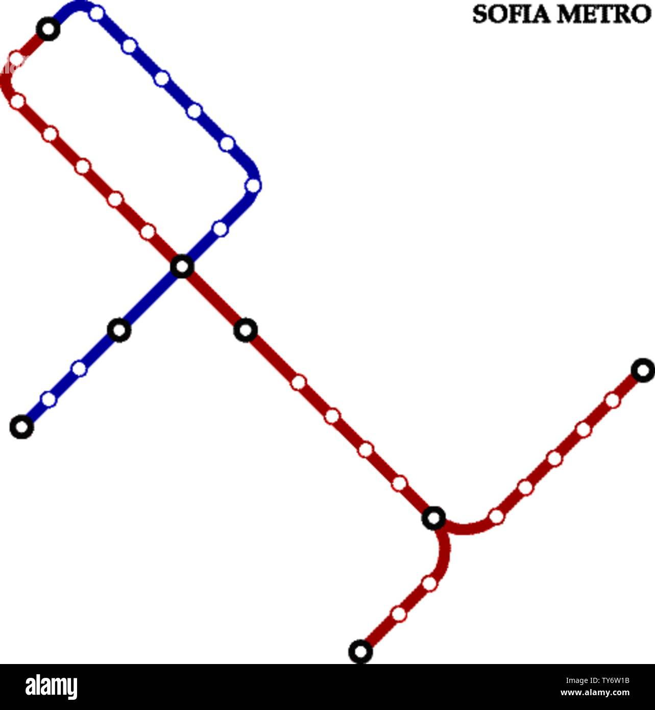 Map of the Sofia metro, Subway, Template of city transportation scheme for underground road. Stock Vector
