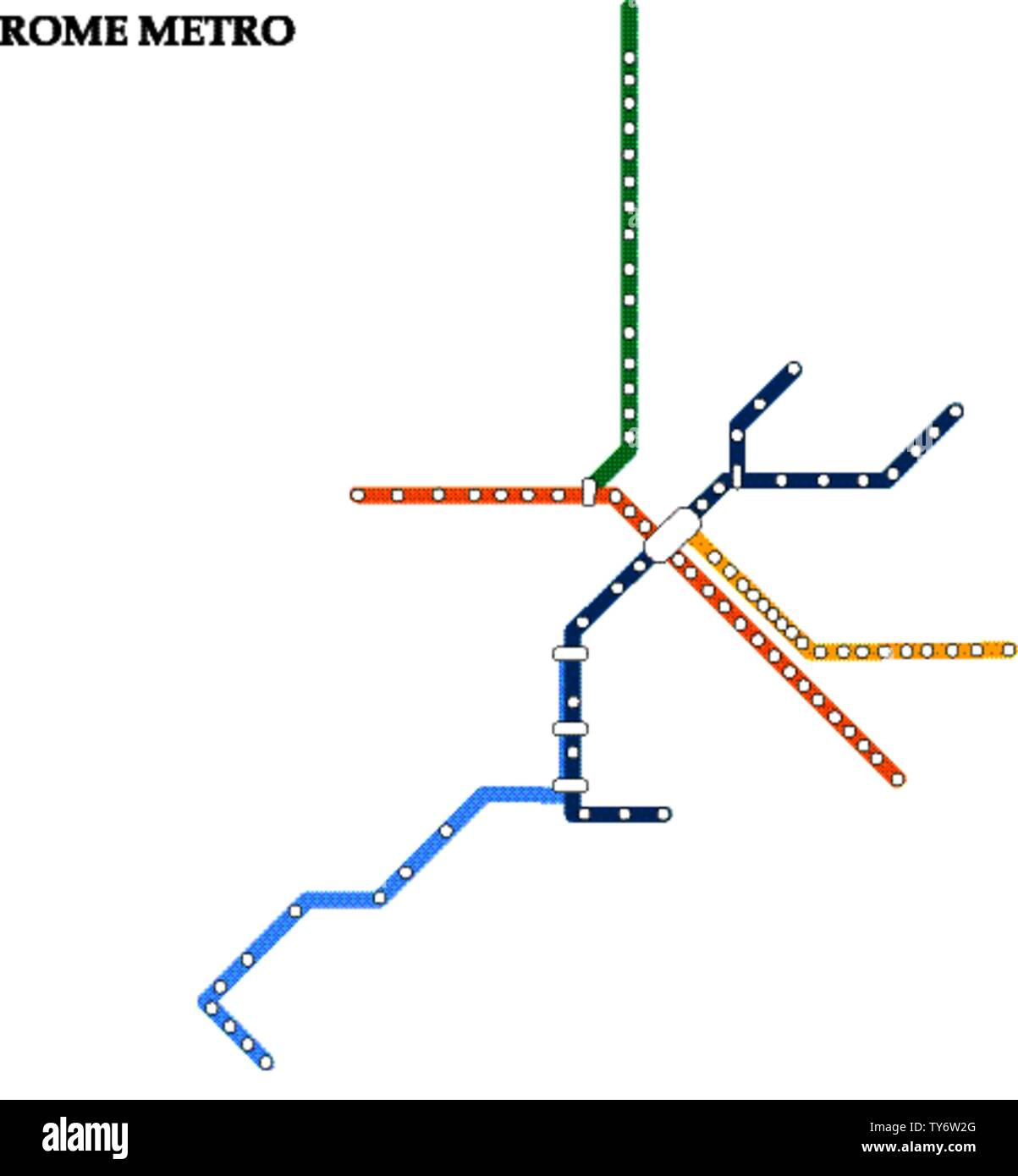 Map of the Rome metro, Subway, Template of city transportation scheme for underground road. Stock Vector