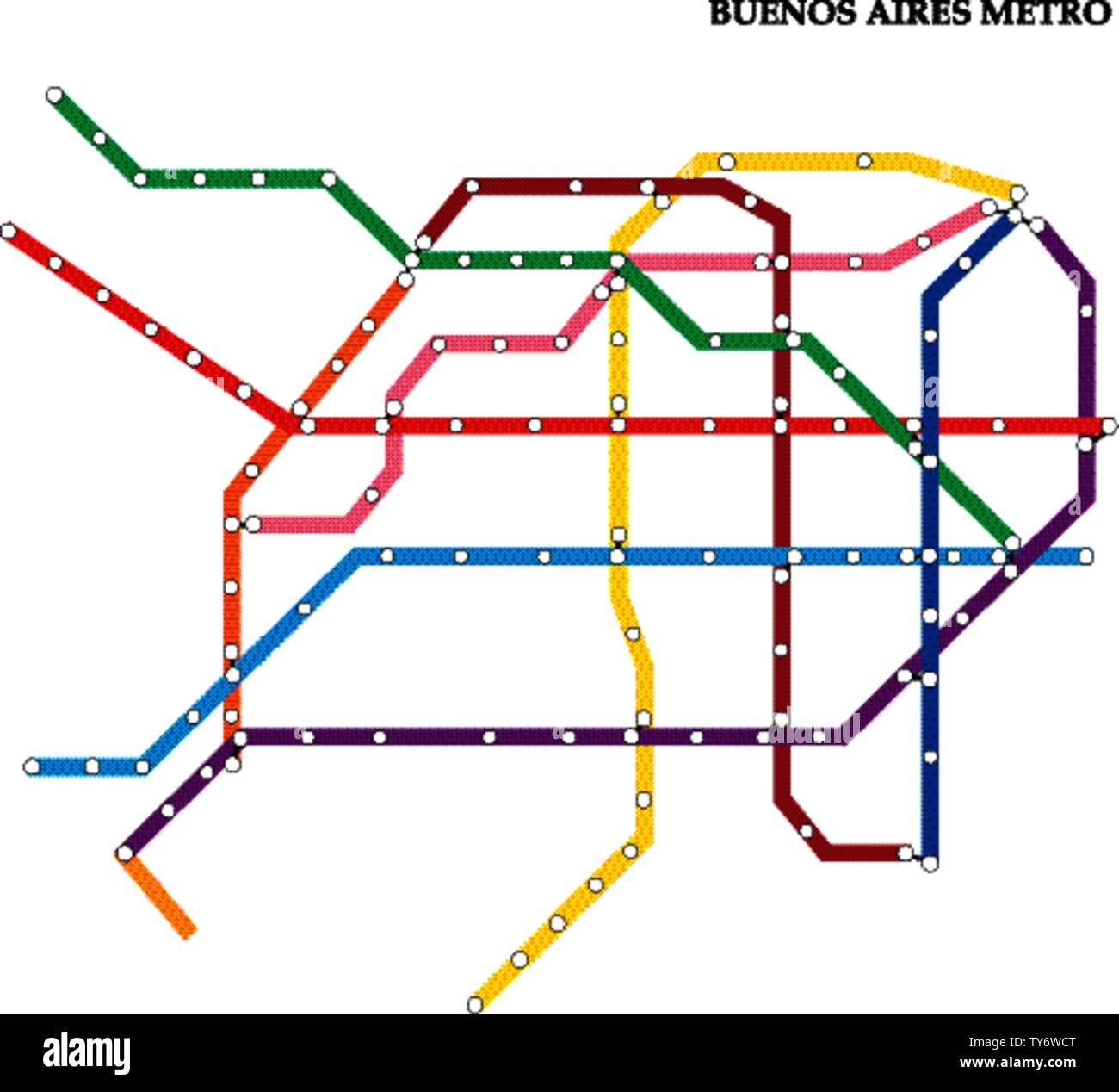 Map of the Buenos Aires metro, Subway, Template of city transportation scheme for underground road. Stock Vector