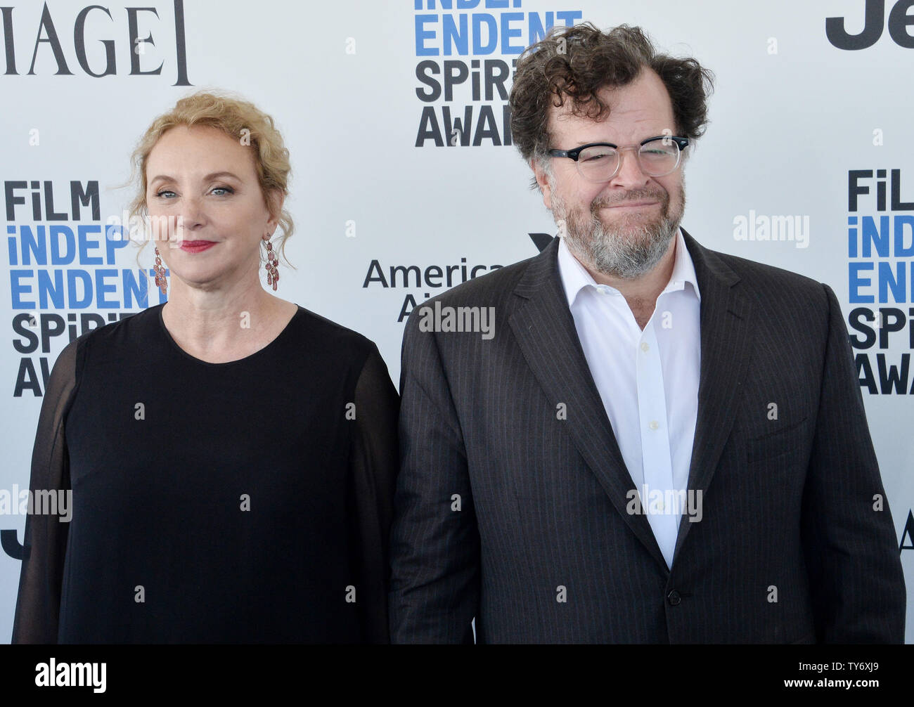 Actress J. Smith-Cameron and director Kenneth Lonergan attend the 32nd annual Film Independent Spirit Awards in Santa Monica, California on February 25, 2017. Photo by Jim Ruymen/UPI - Stock Image