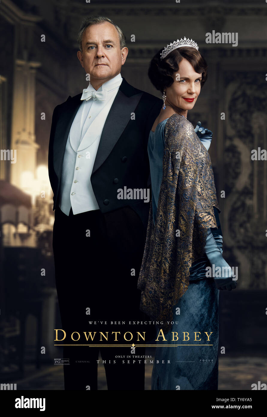 RELEASE DATE: September 20, 2019 TITLE: Downton Abbey STUDIO: Focus Features DIRECTOR: Michael Engler PLOT: Adapted from the hit TV series Downton Abbey that tells the story of the Crawley family, a wealthy owner of a large estate in the English countryside in the early 20th century. STARRING: HUGH BONNEVILLE as Robert Crawley, ELIZABETH MCGOVERN as Cora Crawley. (Credit Image: © Focus Features/Entertainment Pictures) - Stock Image