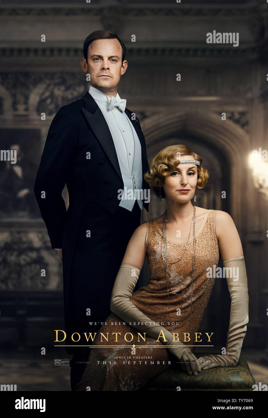 RELEASE DATE: September 20, 2019 TITLE: Downton Abbey STUDIO: Focus Features DIRECTOR: Michael Engler PLOT: Adapted from the hit TV series Downton Abbey that tells the story of the Crawley family, a wealthy owner of a large estate in the English countryside in the early 20th century. STARRING: HARRY HADDON-PATON as Bertie Pelham, LAURA CARMICHAEL as Edith Crawley. (Credit Image: © Focus Features/Entertainment Pictures) - Stock Image