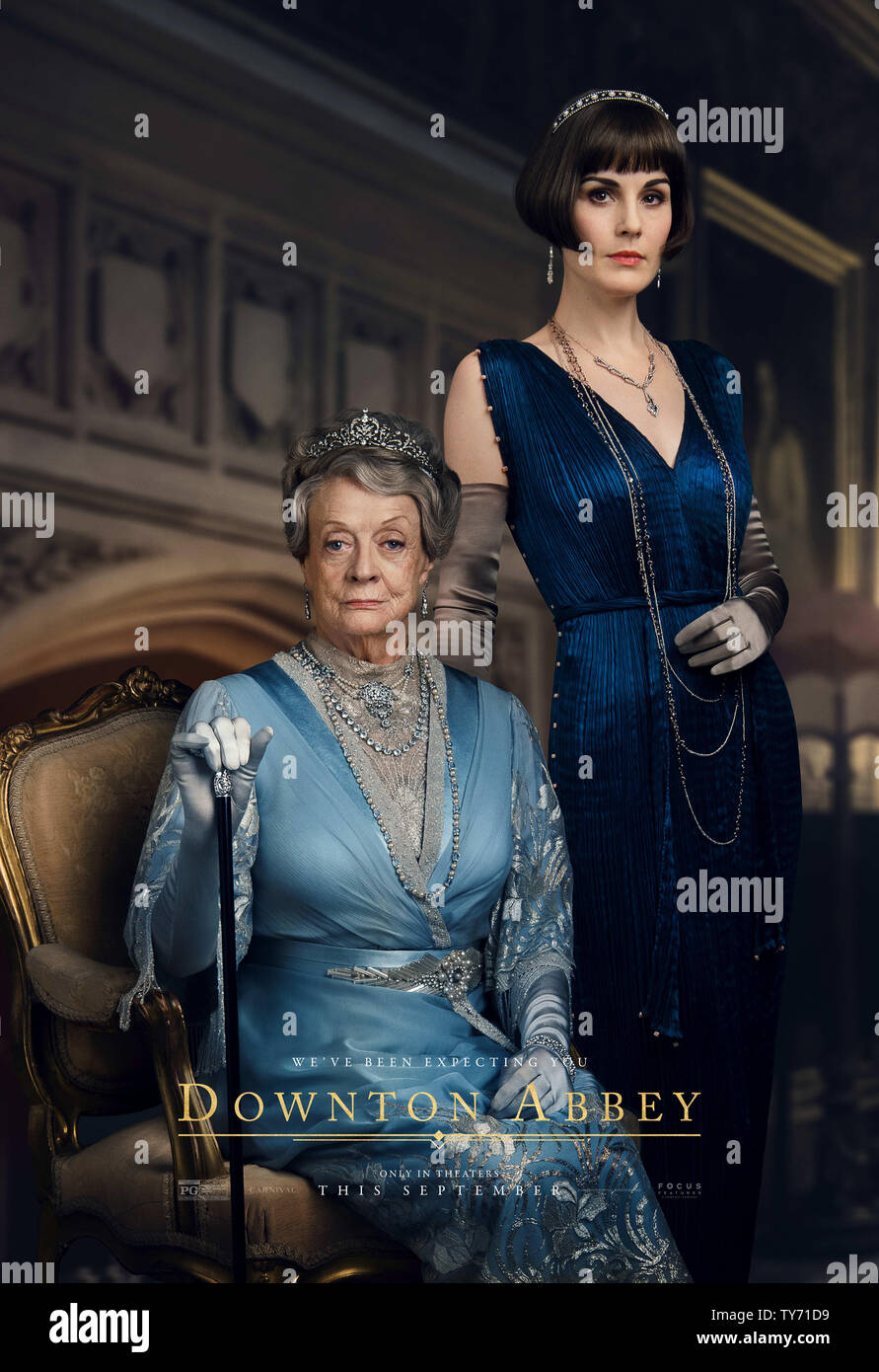 RELEASE DATE: September 20, 2019 TITLE: Downton Abbey STUDIO: Focus Features DIRECTOR: Michael Engler PLOT: Adapted from the hit TV series Downton Abbey that tells the story of the Crawley family, a wealthy owner of a large estate in the English countryside in the early 20th century. STARRING: MAGGIE SMITH as Violet Crawley, MICHELLE DOCKERY as Mary Crawley. (Credit Image: © Focus Features/Entertainment Pictures) - Stock Image