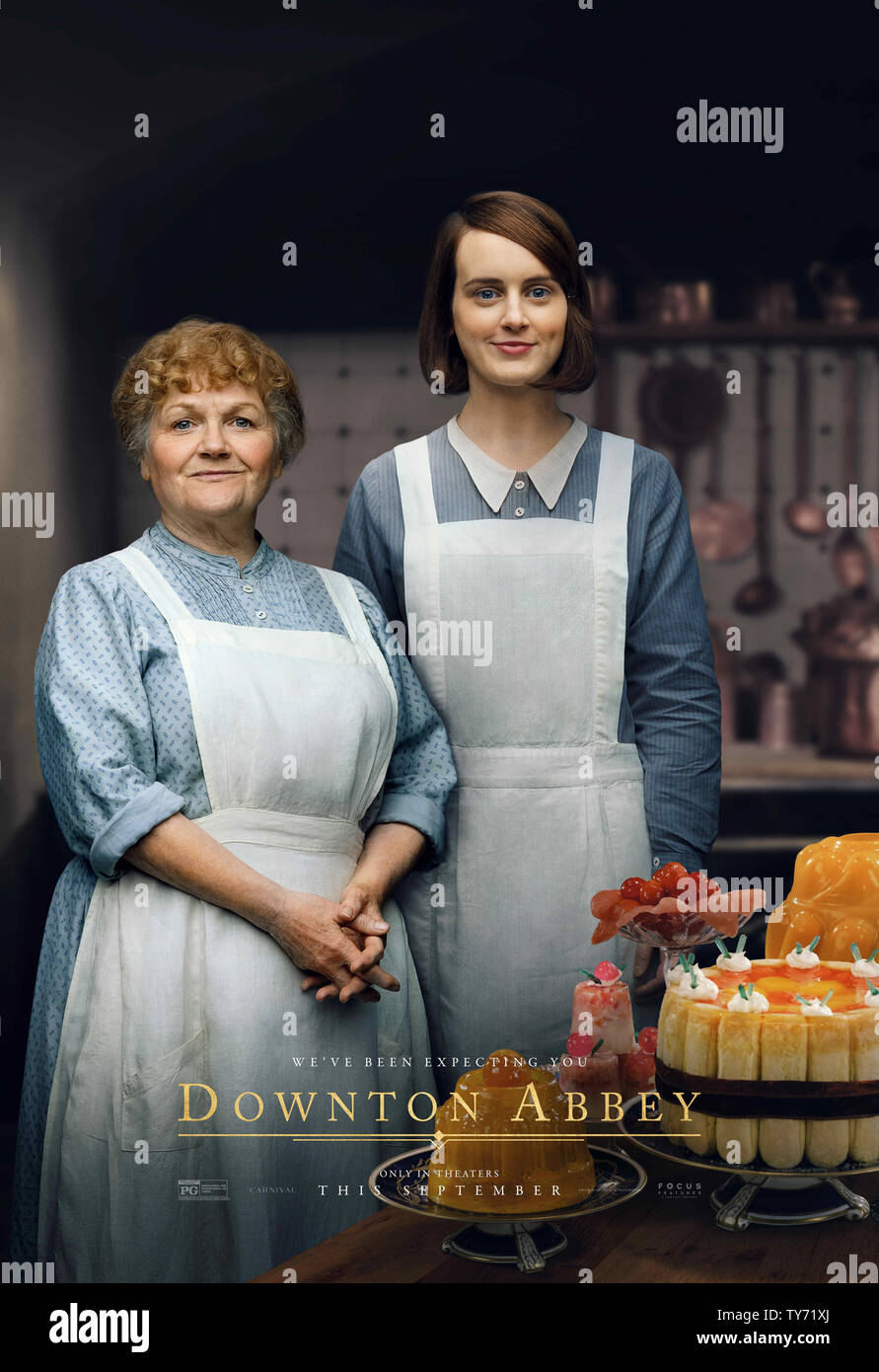 RELEASE DATE: September 20, 2019 TITLE: Downton Abbey STUDIO: Focus Features DIRECTOR: Michael Engler PLOT: Adapted from the hit TV series Downton Abbey that tells the story of the Crawley family, a wealthy owner of a large estate in the English countryside in the early 20th century. STARRING: LESLEY NICOL as Mrs, Patmore, SOPHIE MCSHERA as Daisy Mason. (Credit Image: © Focus Features/Entertainment Pictures) - Stock Image