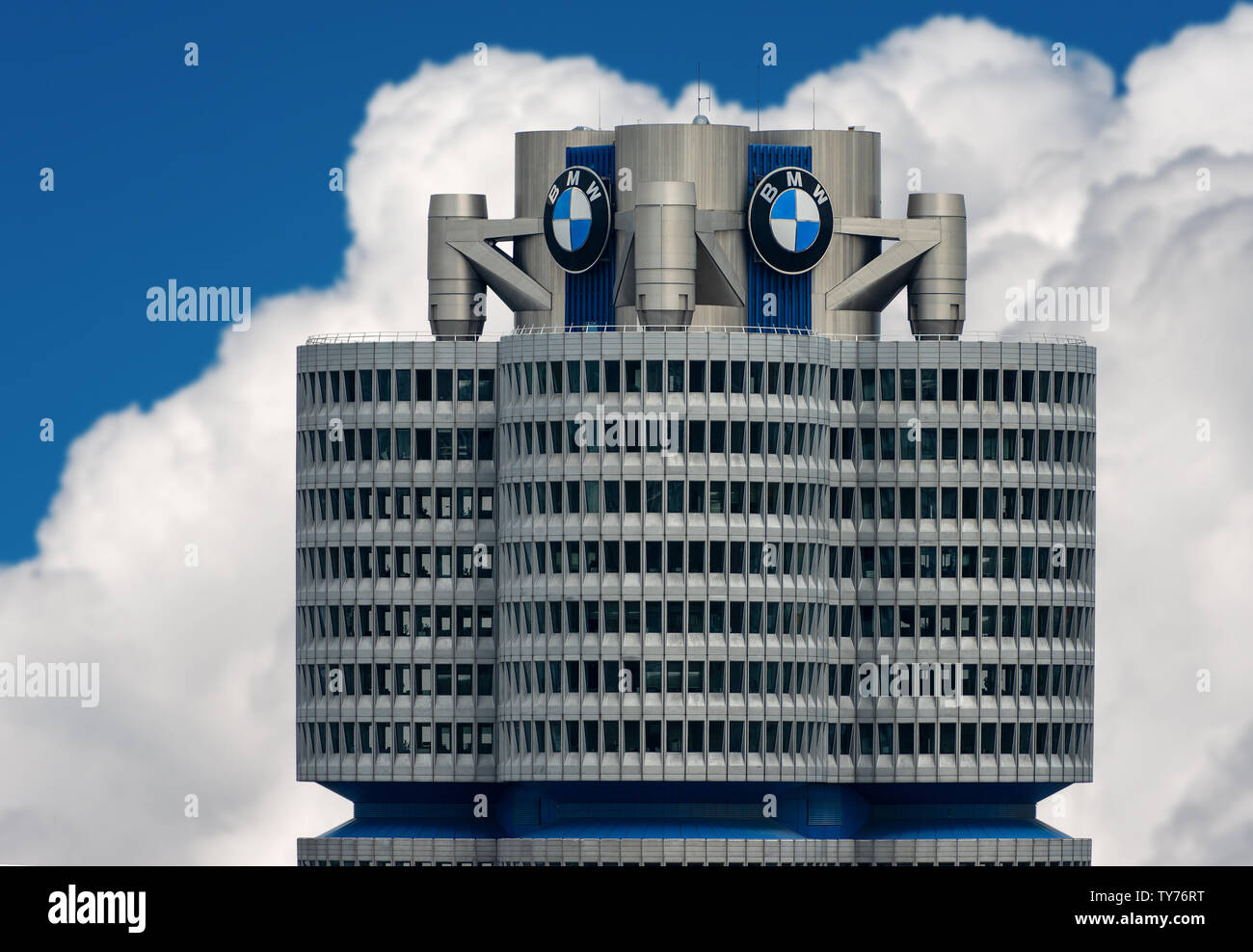 The tower of the BMW (BMW-Vierzylinder or BMW-Turm) landmark serving as world headquarters for the Bavarian automaker. Architect, Karl Schwanzer - Stock Image