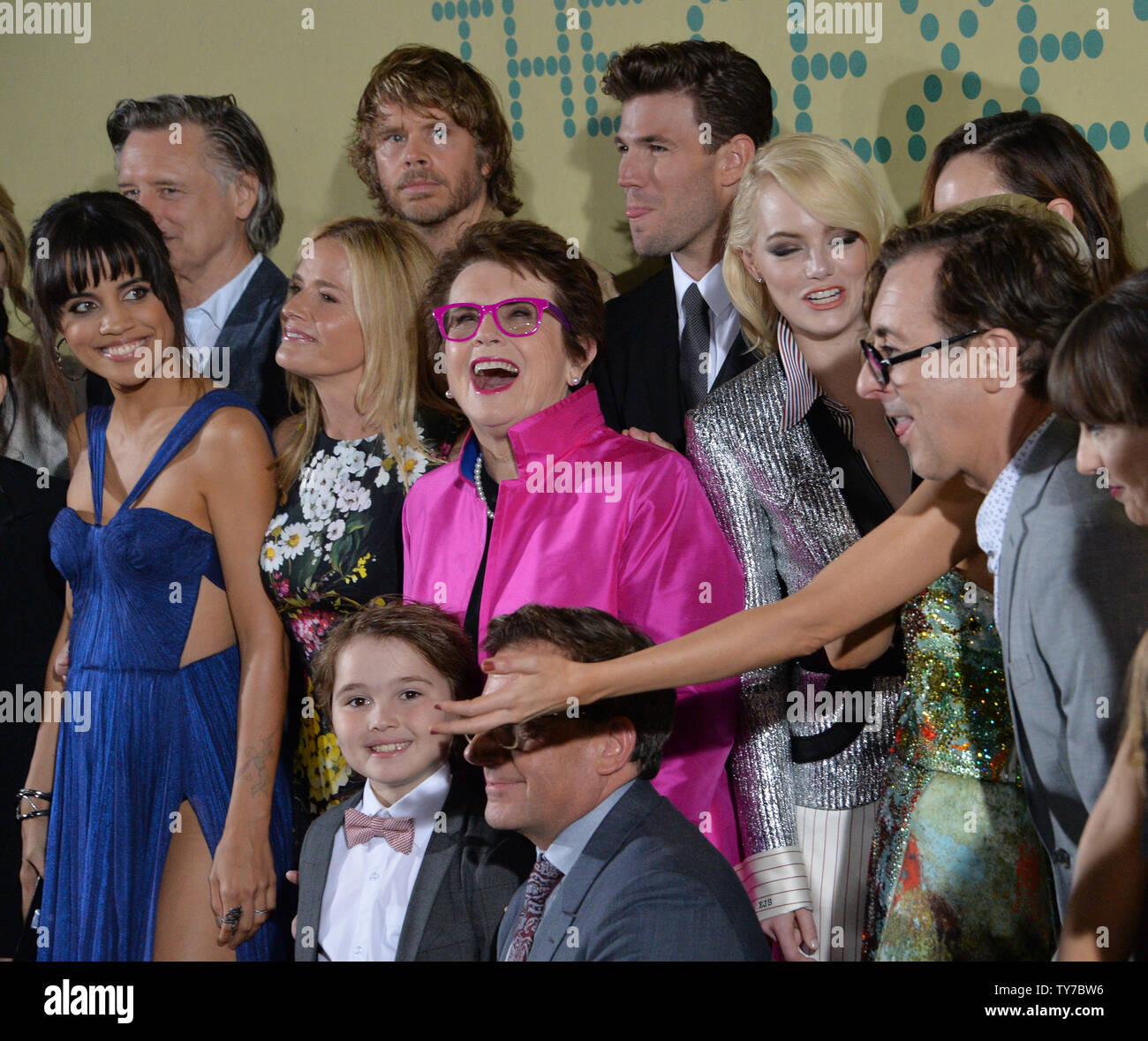 Former Tennis Player Billie Jean King C Is Joined By Cast Members During The Premiere Of The Biographical Sports Comedy Battle Of The Sexes At The Regency Village Theatre In The Westwood