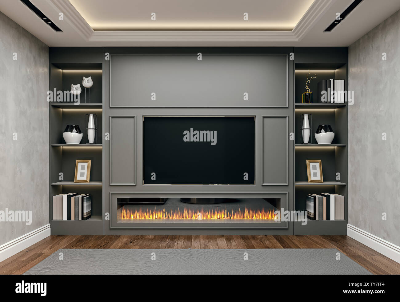 Modern Interior Design Of Living Room In Basement Close Up View Of Tv Wall With Book Shelves Stucco Plaster Wooden Flooring 3d Rendering Stock Photo Alamy