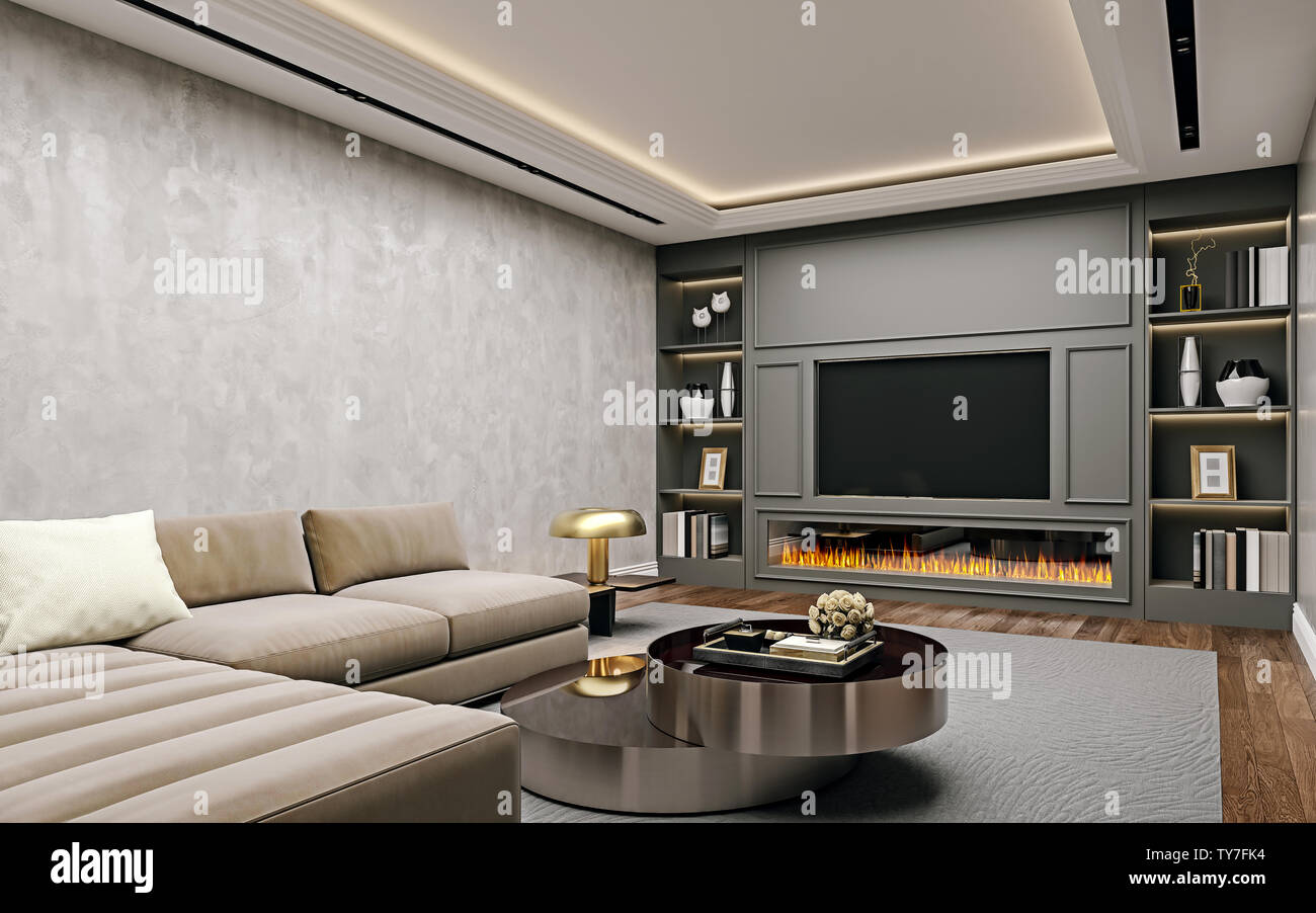 Modern Interior Design Of Living Room In Basement Angled Close Up View Of Tv Wall With Book Shelves Stucco Plaster Wooden Flooring 3d Rendering Stock Photo Alamy
