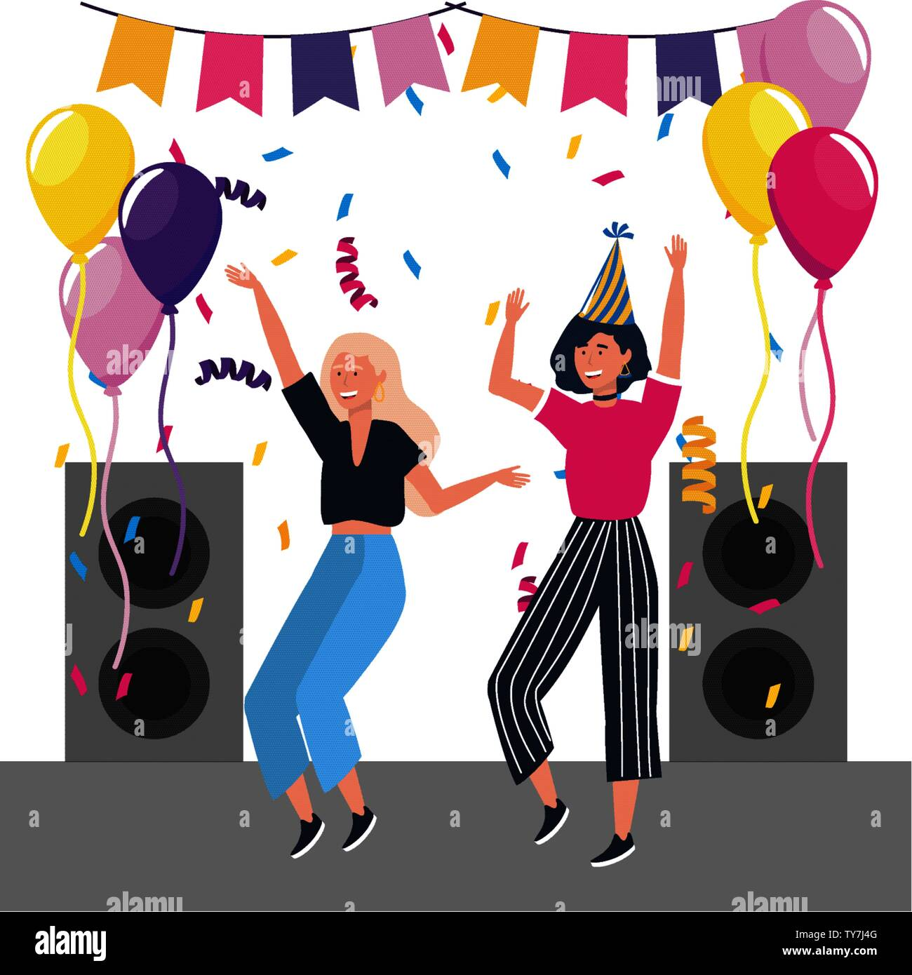 Superb Women In A Party Dancing Design Happy Birthday Celebration Personalised Birthday Cards Veneteletsinfo