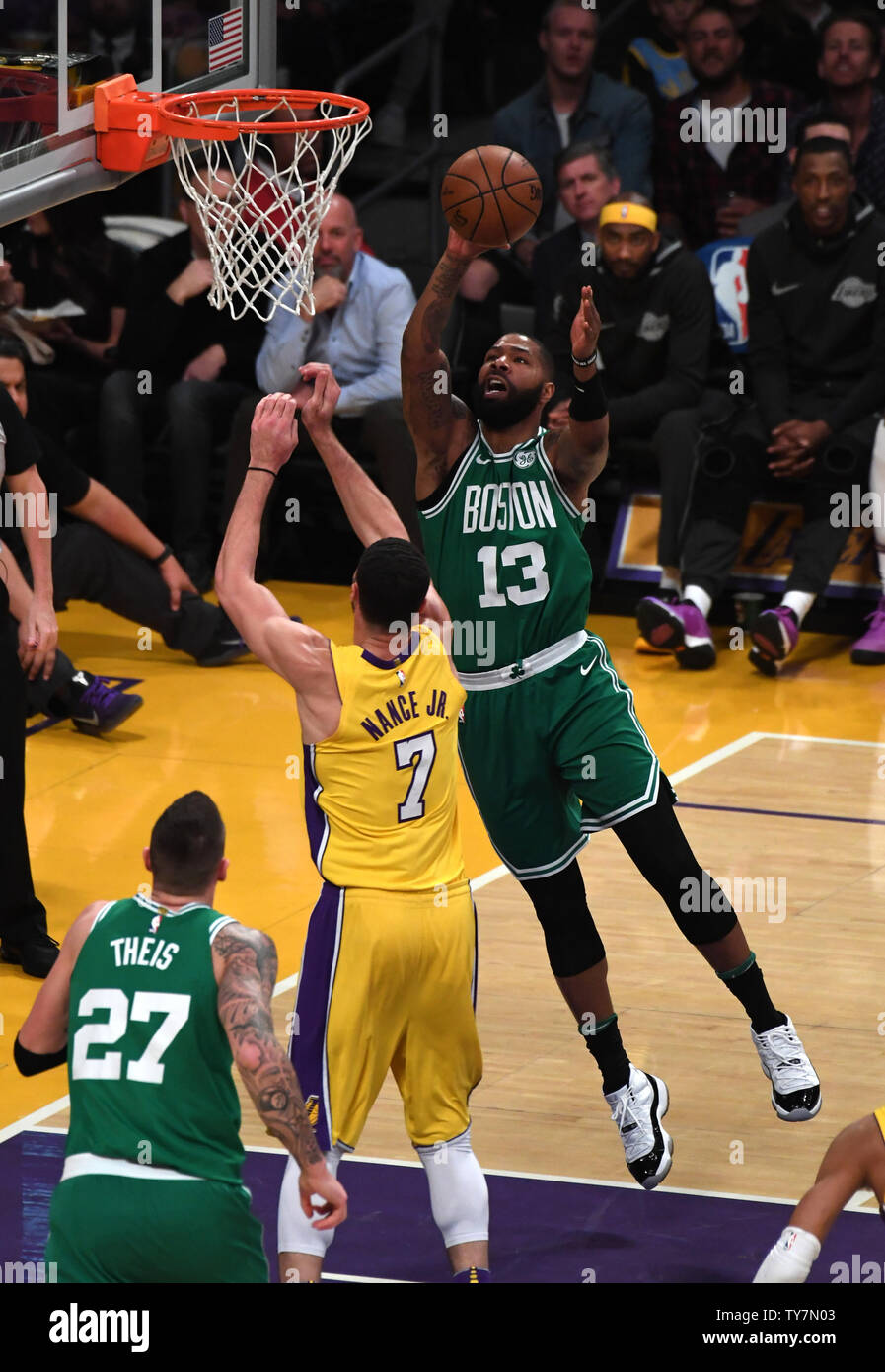 Celtics Marcus Morris Shoots Over Lakers Larry Nance Jr At Staples Center In Los Angeles January 23 2018 Photo By Jon Soohoo Upi Stock Photo Alamy
