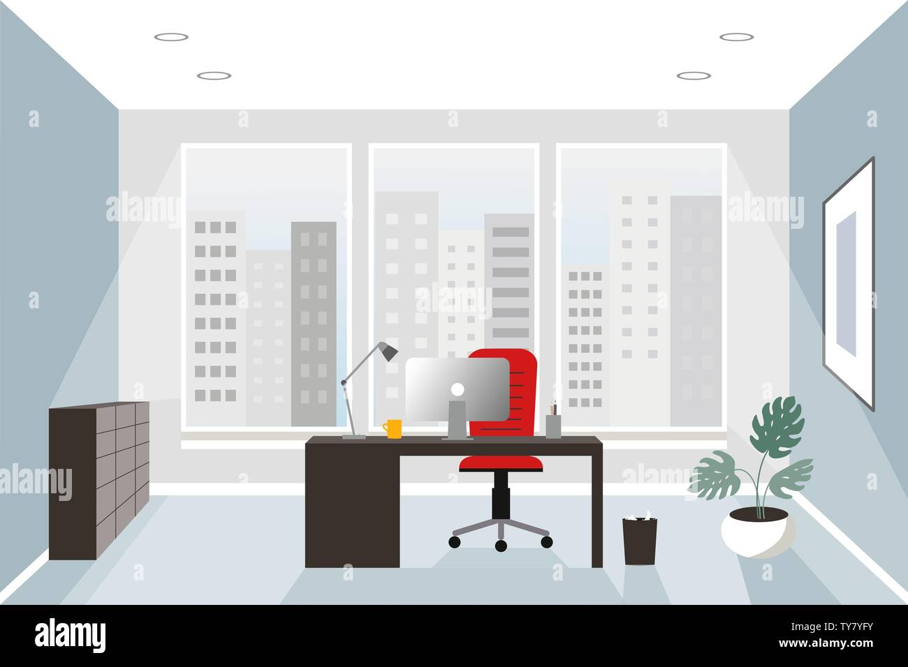 Office Interior Concept. Flat Style. Modern Business ...