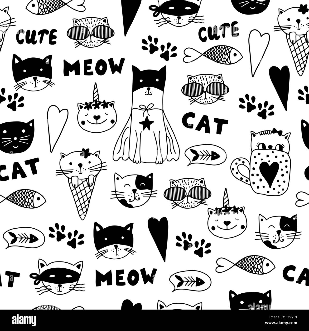 doodle cats black and white hand drawn