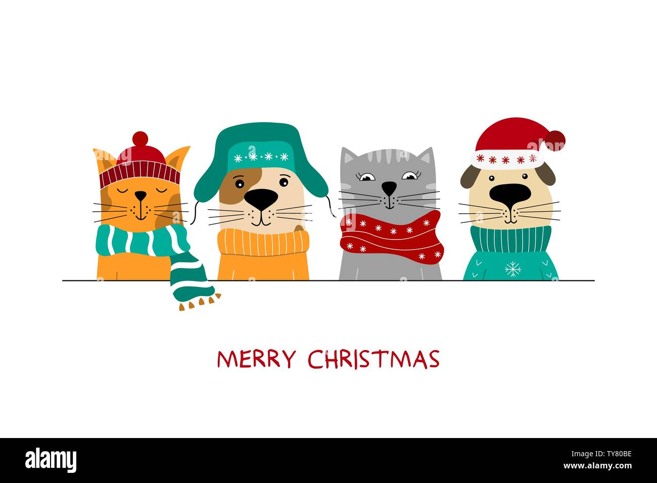Merry Christmas Illustration Of Cute Cats And Funny Dogs Stock Vector Image Art Alamy