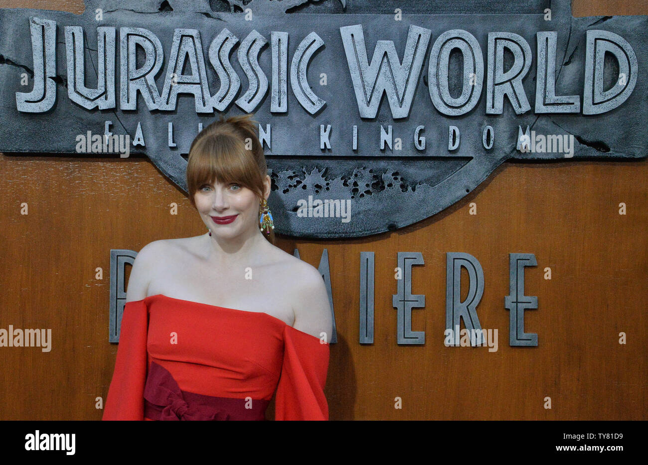 cast member bryce dallas howard attends the premiere of the sci fi motion picture jurassic world fallen kingdom at the walt disney concert hall in los angeles on june 12 2018 storyline when the islands dormant volcano begins roaring to life owen and claire mount a campaign to rescue the remaining dinosaurs from this extinction level event photo by jim ruymenupi TY81D9