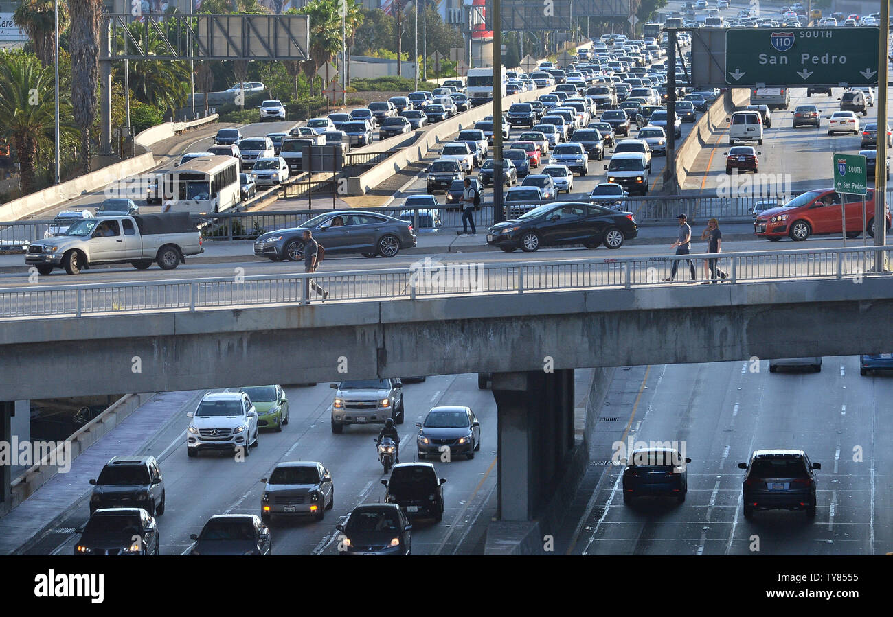 Traffic On Freeway 110 Downtown Stock Photos & Traffic On