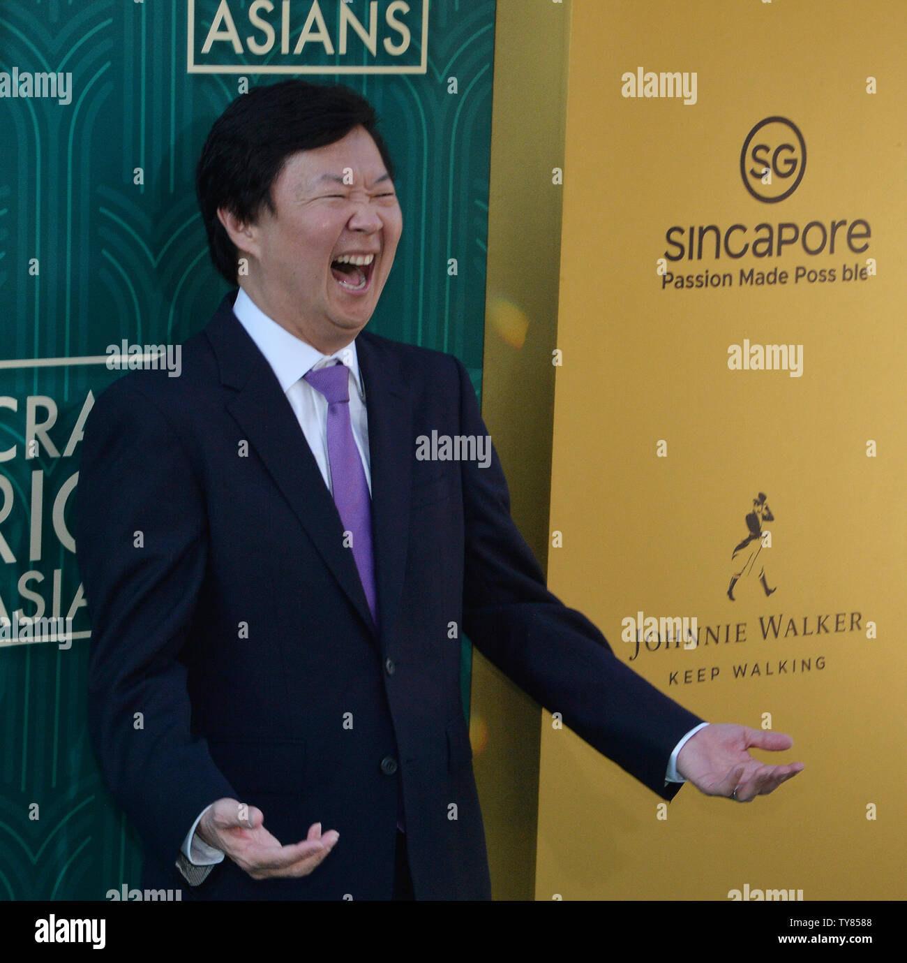 Cast member Ken Jeong attends the premiere of the motion picture comedy 'Crazy Rich Asians' at the TCL Chinese Theatre in the Hollywood section of Los Angeles on July 7, 2018. The story follows Rachel Chu (Wu), an American-born Chinese economics professor, who travels to her boyfriend Nick's (Henry Golding) hometown of Singapore for his best friend's wedding. Before long, his secret is out: Nick is from a family that is impossibly wealthy, he's perhaps the most eligible bachelor in Asia, and every single woman in his ultra-rarefied social class is incredibly jealous of Rachel and wants to brin - Stock Image
