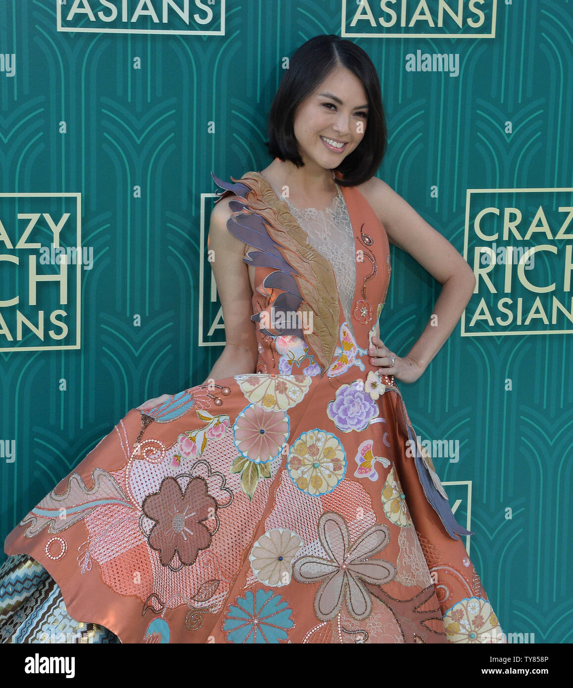 Cast member Carmen Soo attends the premiere of the motion picture comedy 'Crazy Rich Asians' at the TCL Chinese Theatre in the Hollywood section of Los Angeles on July 7, 2018. The story follows Rachel Chu (Wu), an American-born Chinese economics professor, who travels to her boyfriend Nick's (Henry Golding) hometown of Singapore for his best friend's wedding. Before long, his secret is out: Nick is from a family that is impossibly wealthy, he's perhaps the most eligible bachelor in Asia, and every single woman in his ultra-rarefied social class is incredibly jealous of Rachel and wants to bri - Stock Image