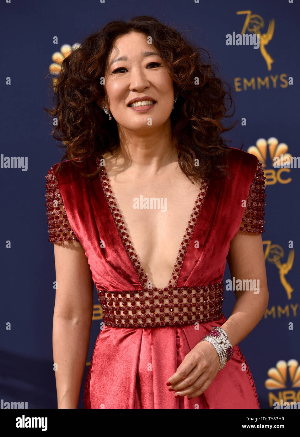 Actor Sandra Oh attends the 70th annual Primetime Emmy Award at the Microsoft Theater in downtown Los Angeles on September 17, 2018.   Photo by Christine Chew/UPI Stock Photo