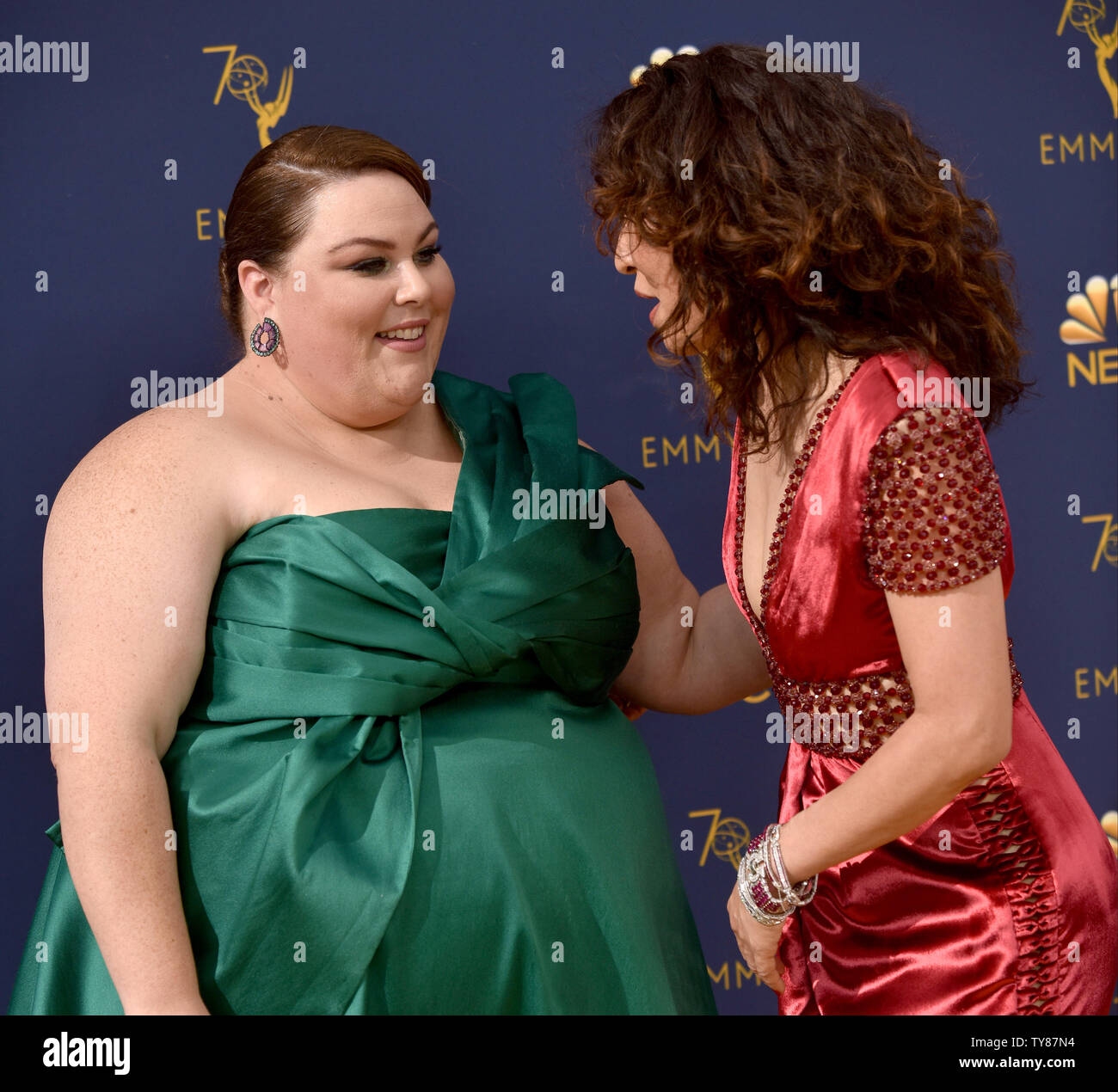 Actors Chrissy Metz (L) and Sandra Oh attend the 70th annual Primetime Emmy Award at the Microsoft Theater in downtown Los Angeles on September 17, 2018.   Photo by Christine Chew/UPI Stock Photo