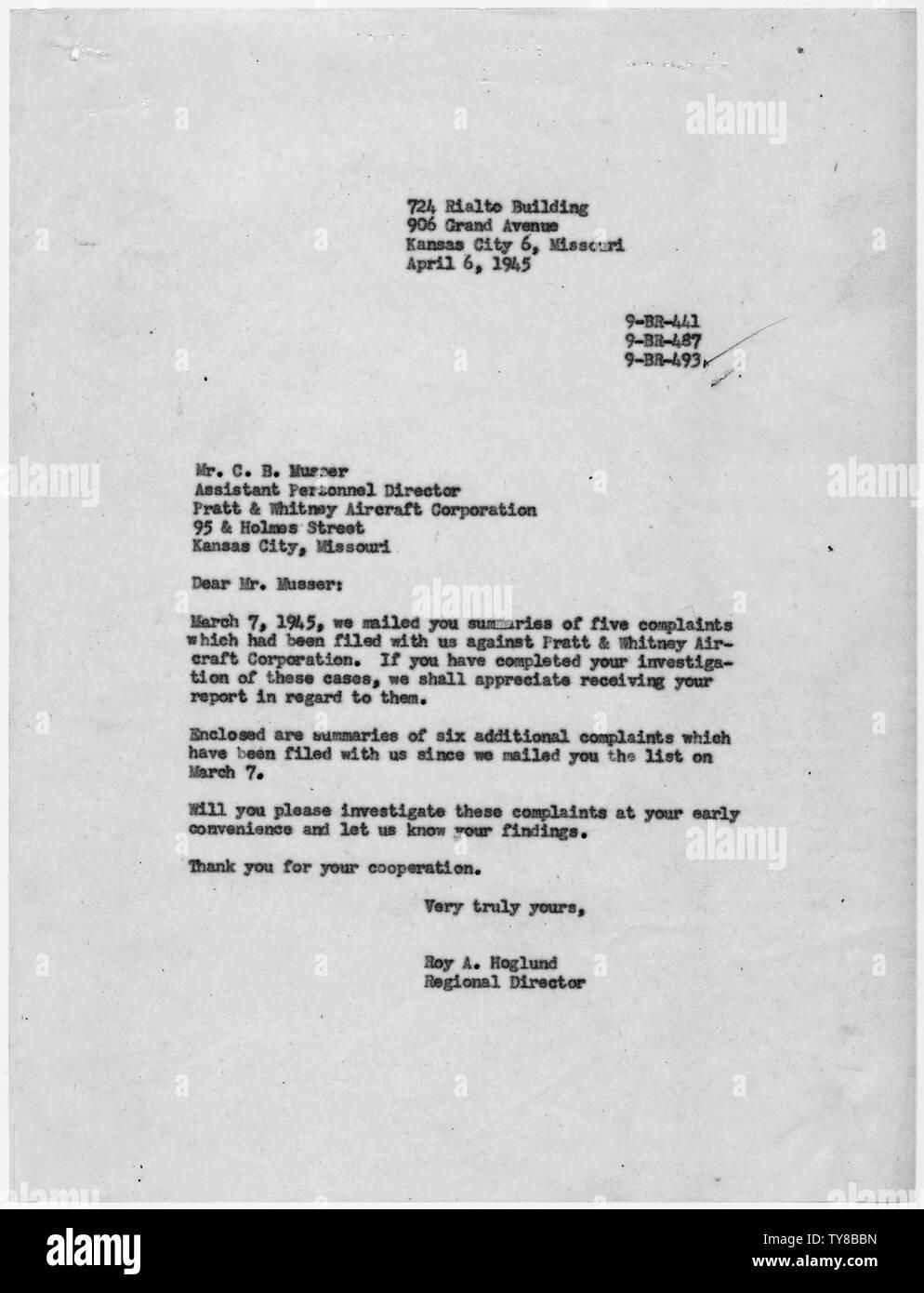 Malinda Bunn [Case 9-BR-493]: Roy A. Hoglund to C.B. Musser ...