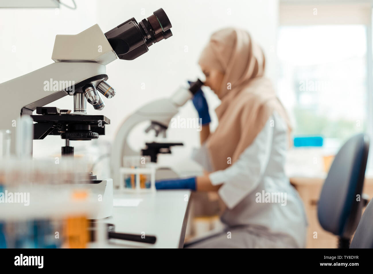 Selective focus of a modern professional microscope Stock Photo