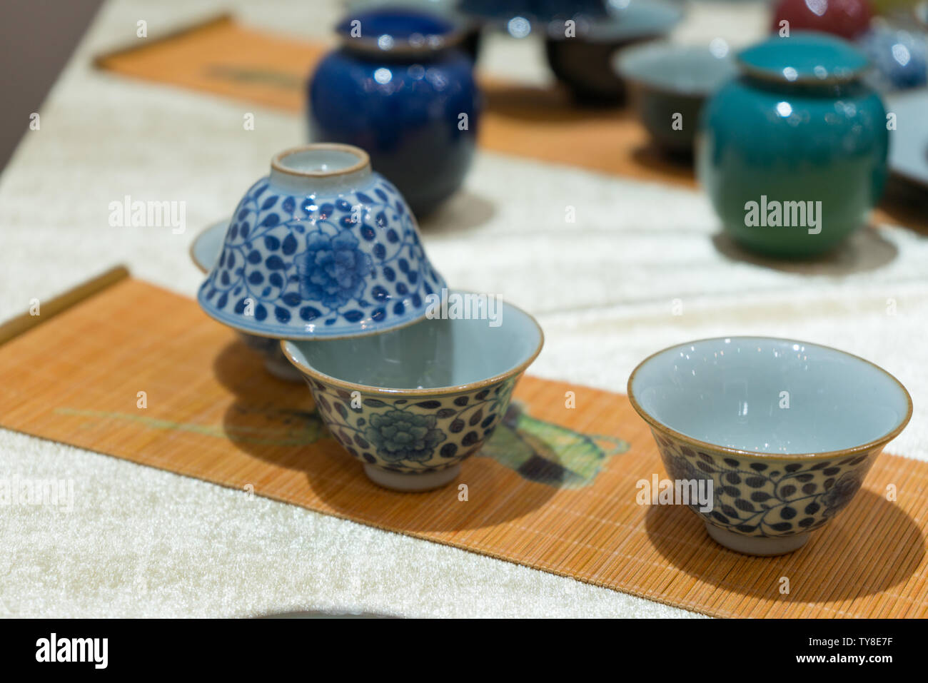 Ancient Chinese Porcelain Bowls Stock Photos & Ancient