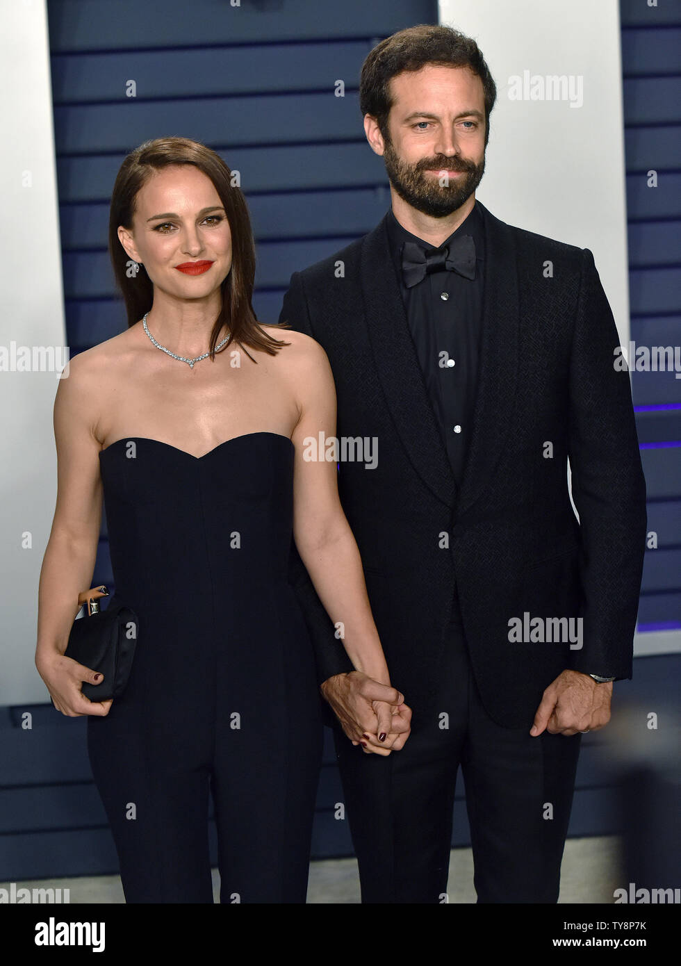 Natalie Portman L And Her Husband Benjamin Millepied Arrive For The Vanity Fair Oscar Party At The Wallis Annenberg Center For The Performing Arts In Beverly Hills California On February 24 2019