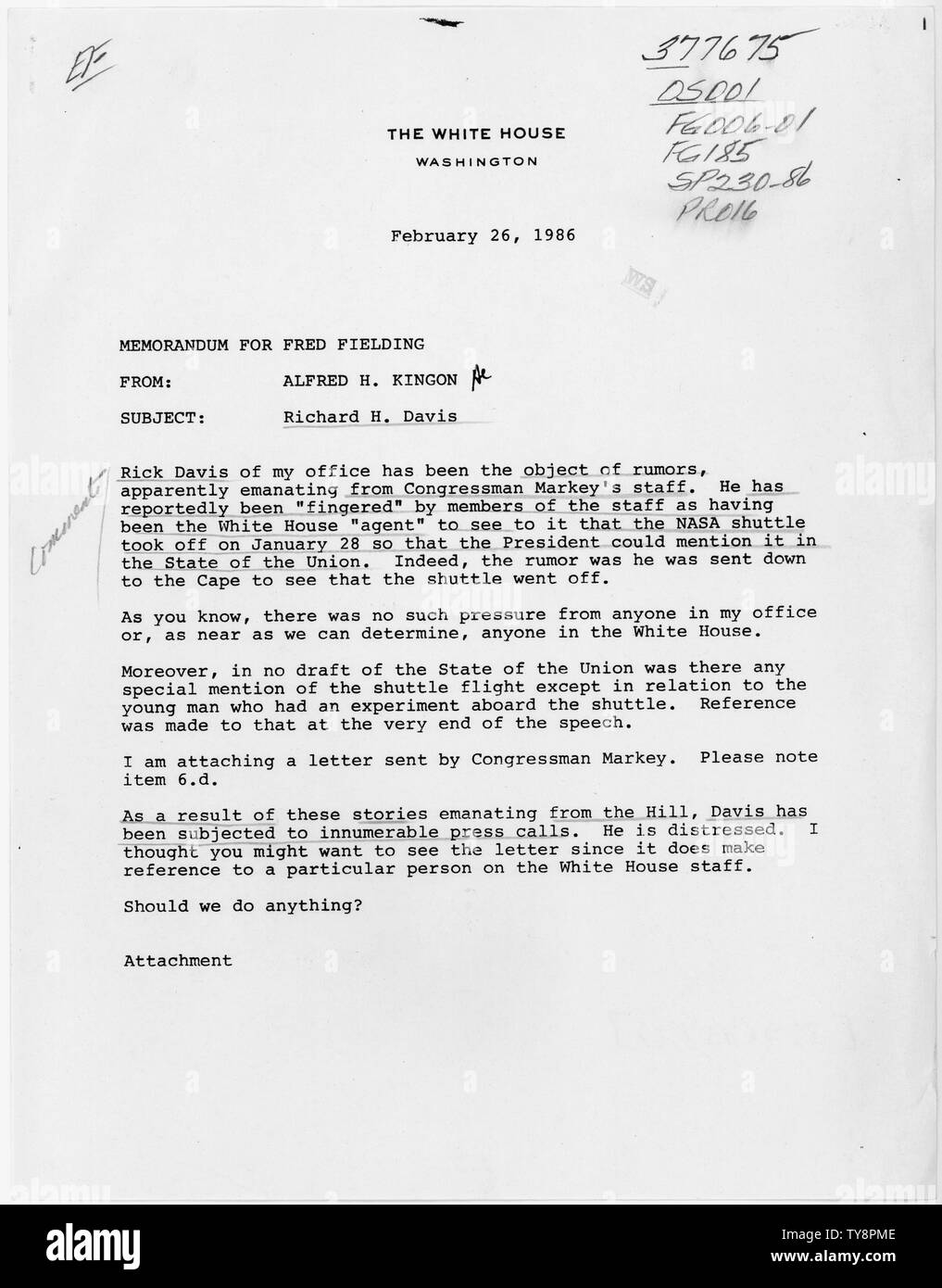 Memo from Alfred H. Kingon to Fred Fielding, re Richard H. Davis; Scope and content:  Memo from the Cabinet Secretary to the White House Counsel, regarding unfounded allegations that a White House staff person had a role in the timing of the space shuttle Challenger launch. Stock Photo