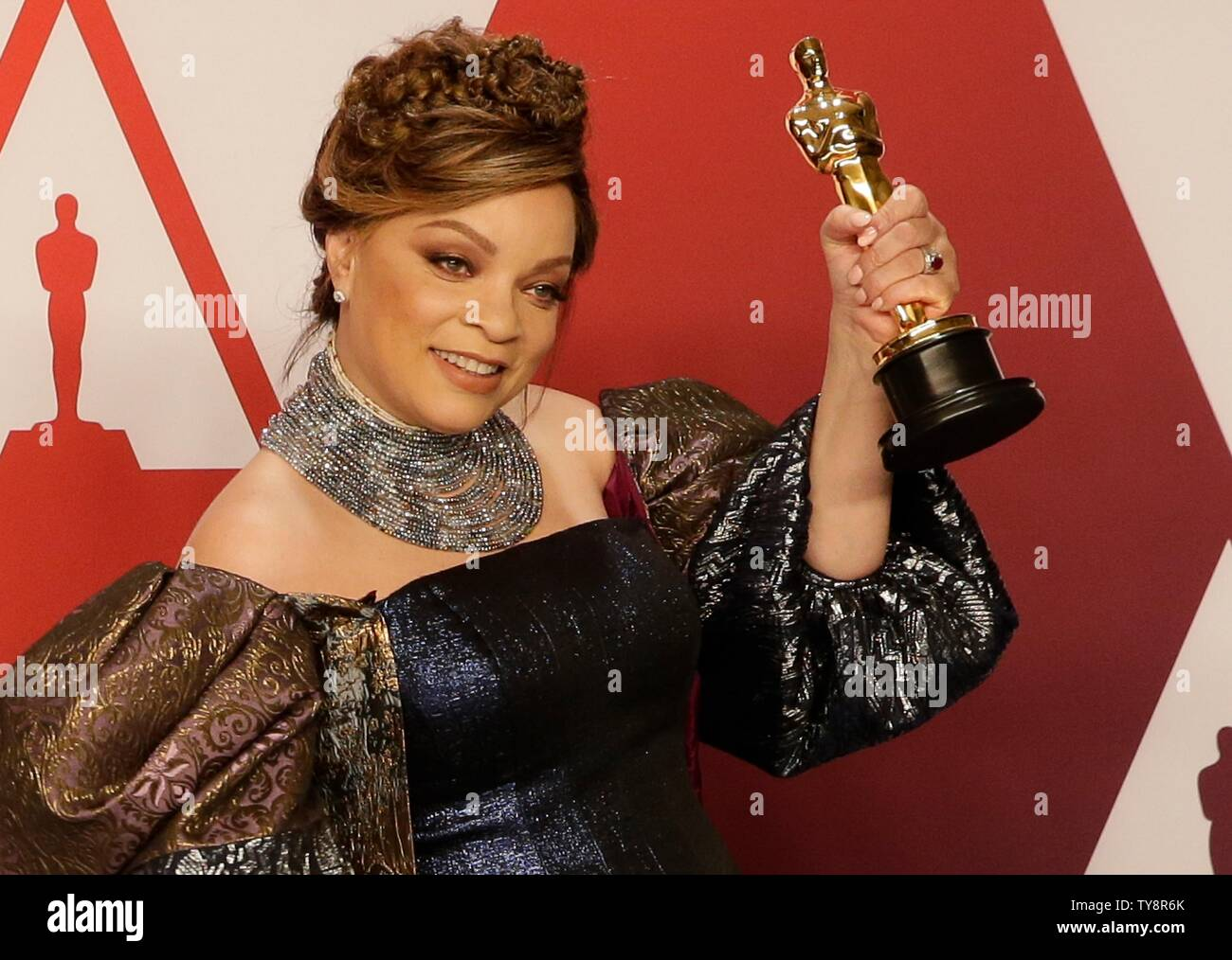 Ruth E Carter Winner Of The Award For Best Costume Design For Black Panther Appears Backstage With His Oscar During The 91st Annual Academy Awards At Loews Hollywood Hotel In The Hollywood
