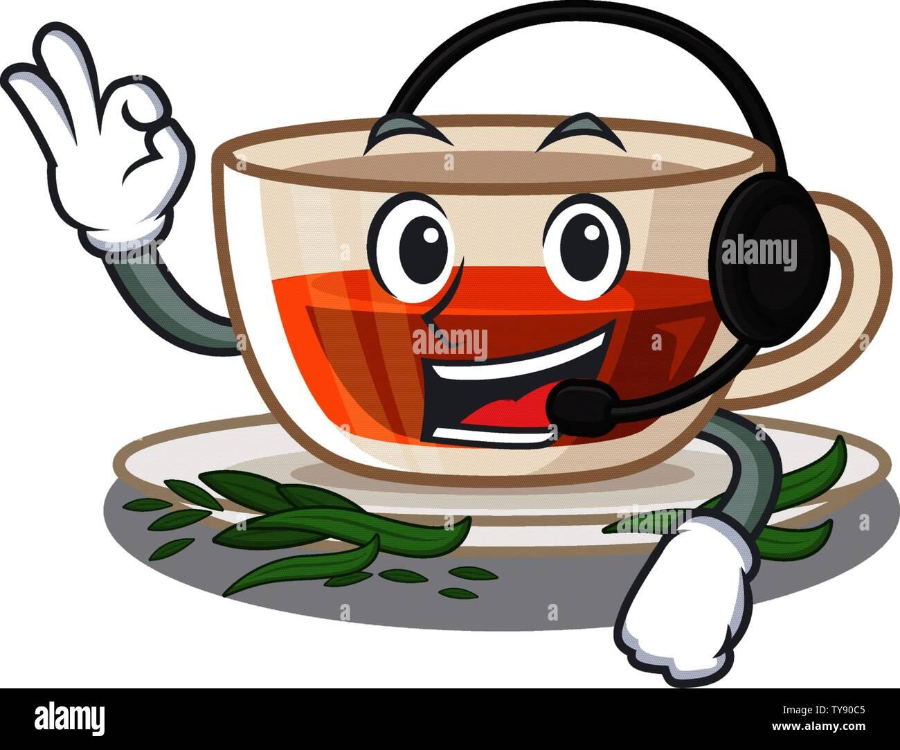 With headphone darjeeling tea above wooden cartoon table Stock Vector