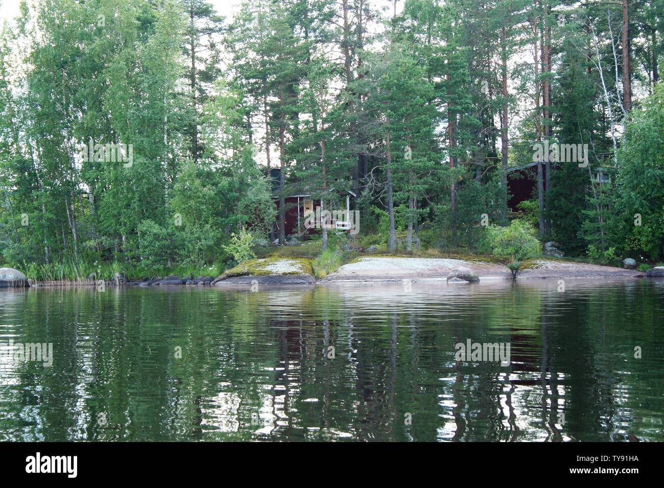 landscape of lake Saimaa, Finland Stock Photo