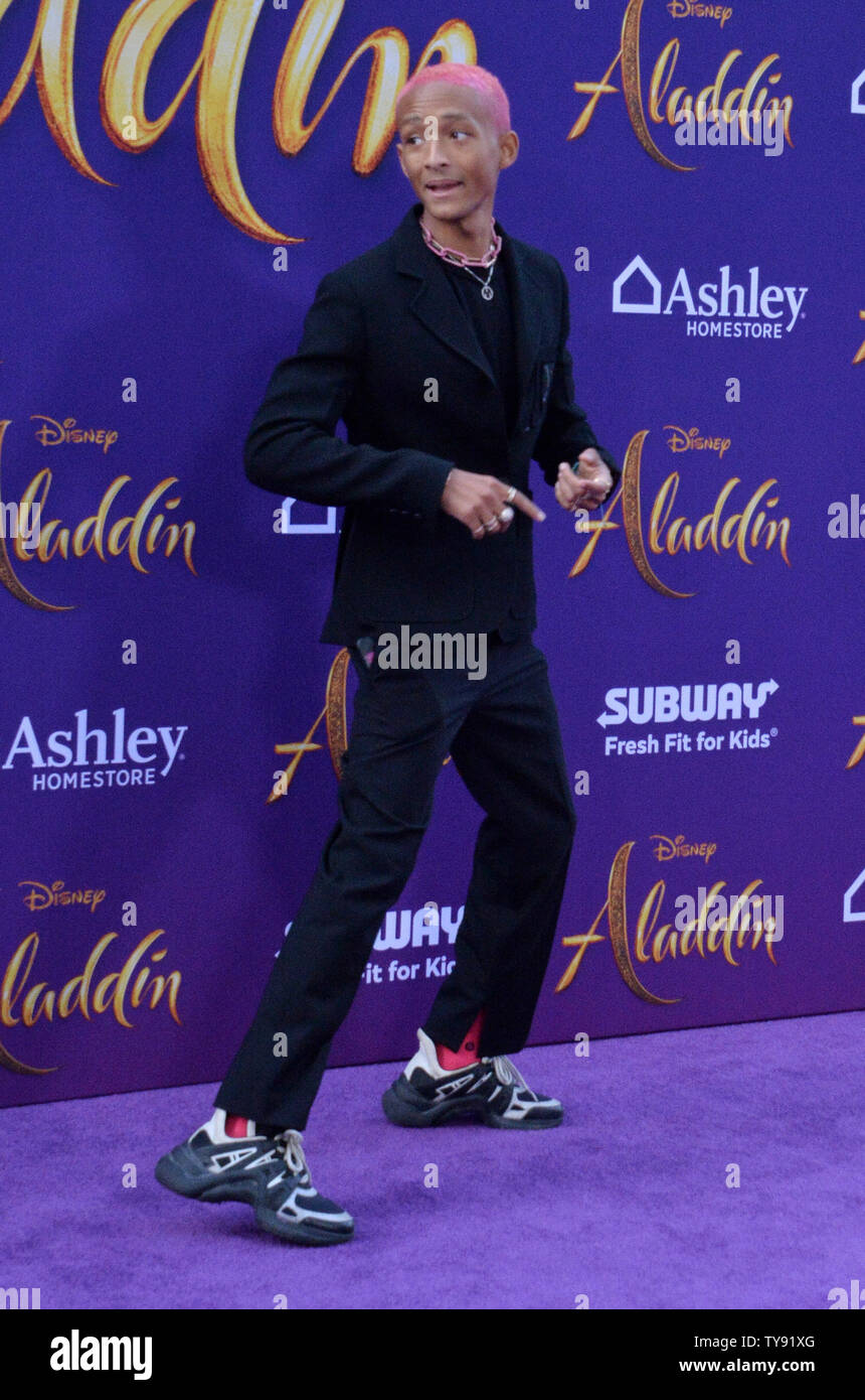 Jaden Smith attends the premiere of the motion picture fantasy 'Aladdin' at the El Capitan Theatre in the Hollywood section of Los Angeles on May 21, 2019. Storyline: A kindhearted street urchin and a power-hungry Grand Vizier vie for a magic lamp that has the power to make their deepest wishes come true.  Photo by Jim Ruymen/UPI - Stock Image