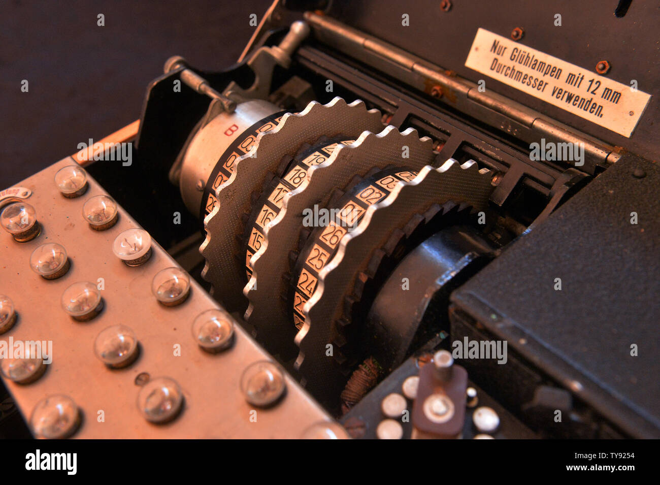 A rare three-cipher rotor design Enigma machine (M3) used by the Germans during World War II (pictured) will be auctioned online on May 30, 2019. Germany used the Enigma machine from 1934 until the conclusion of the war in 1945. The Enigma machine could scramble the letters into any one of 17,576 combinations except the use of its original letter. As featured in the critically acclaimed film ''The Imitation Game,'' British scientist Alan Turing's efforts to decode the enigma system allowed the Allies to deconstruct many of the German ciphers' coded communications. Enigma machines are now very Stock Photo