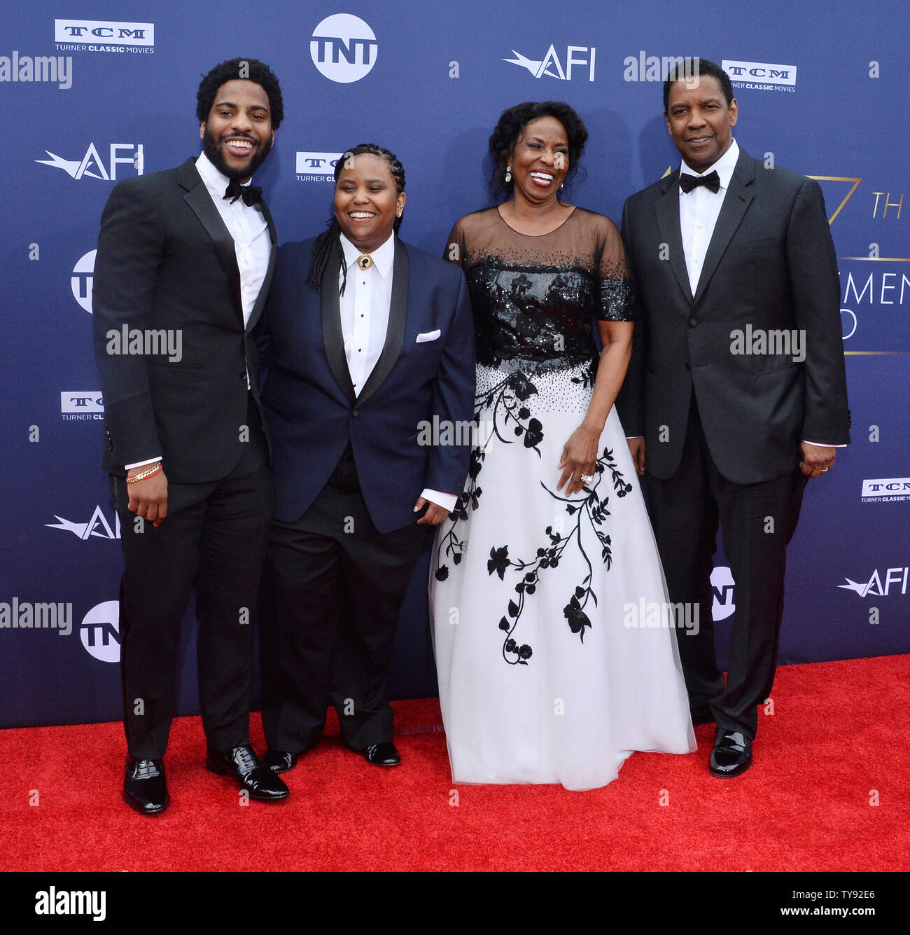 Honoree Denzel Washington (R) attends the 47th annual AFI Life Achievement Award tribute gala with his son Malcolm Washington, daughter Katia Washington and wife Pauletta Washington (L-R) at the Dolby Theatre in the Hollywood section of Los Angeles on June 6, 2019.   Photo by Jim Ruymen/UPI Stock Photo