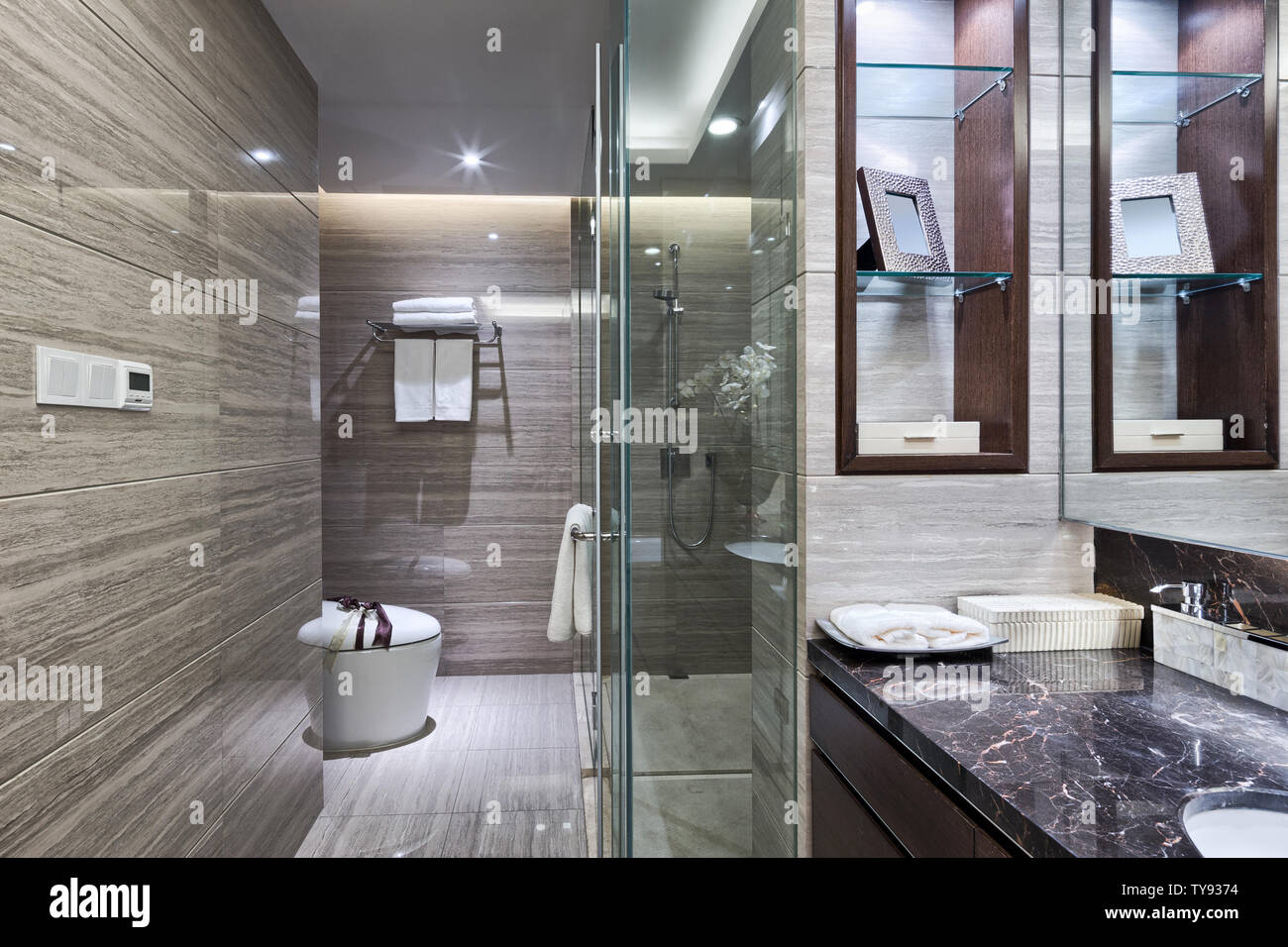 Luxury hotel bathroom interior and upscale furniture with modern