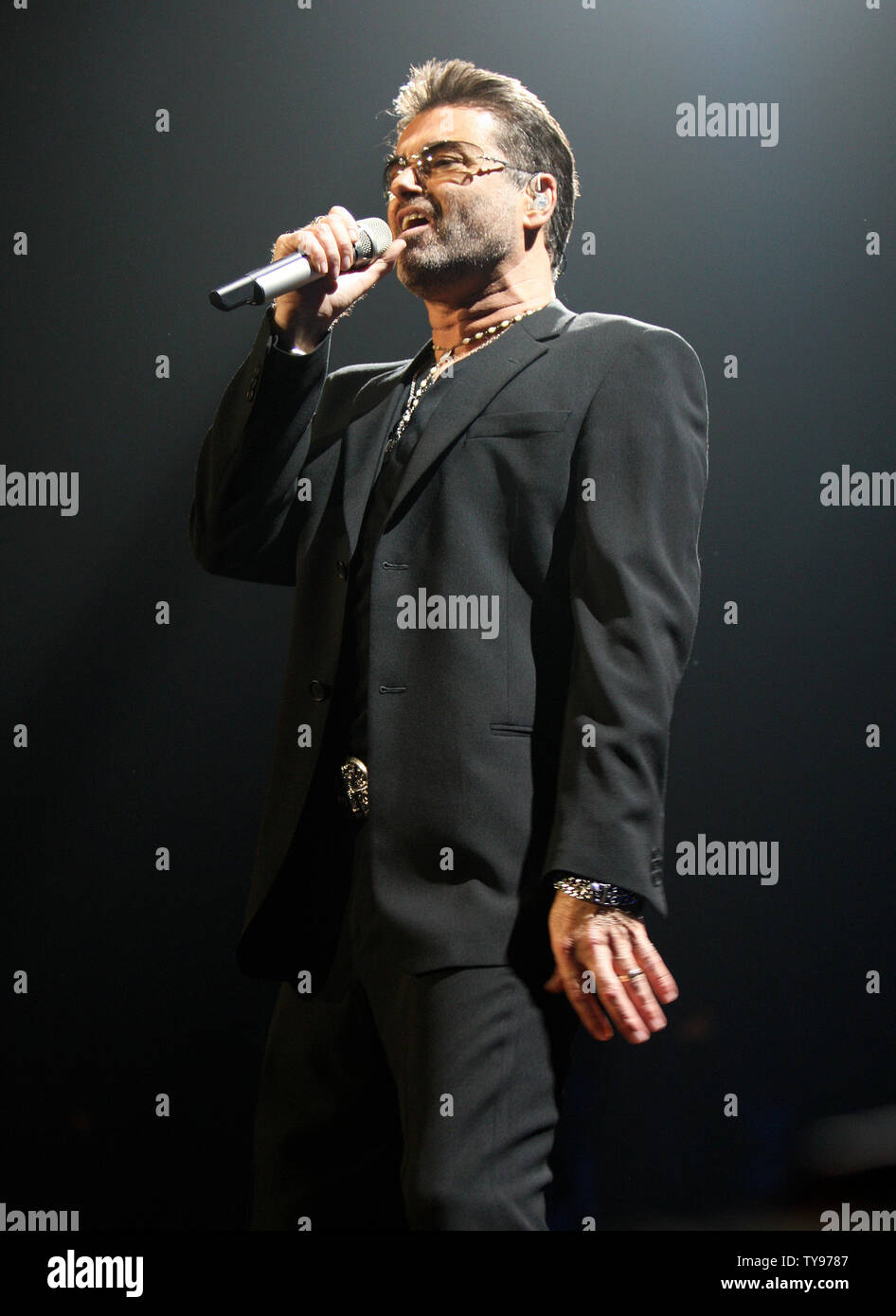 George Michael performs at the MGM Grand arena in Las Vegas