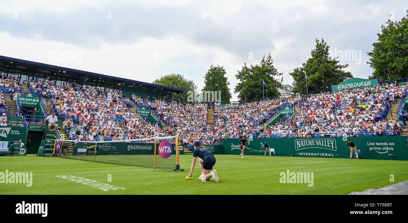 Eastbourne UK 25th June 2019 -  Johanna Konta in action on Centre Court at the Nature Valley International tennis tournament held at Devonshire Park in Eastbourne . Credit : Simon Dack / TPI - Stock Image