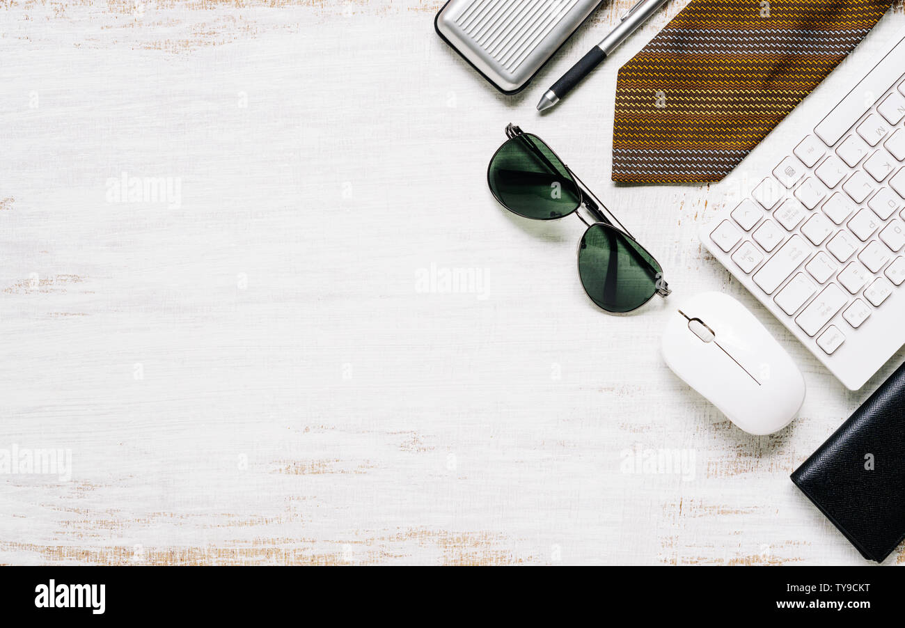Business men's casual outfits on rusty white wood board background, Flat lay, top view with copy space for your advertisement text or object. Stock Photo