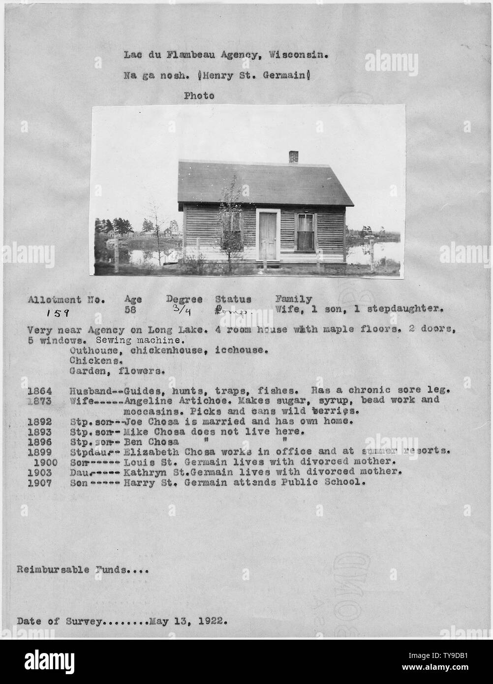 Na ga nosh (Henry St. Germain); Scope and content:  Description of Allotment 159 for Na ga nosh (Henry St. Germain) - Stock Image