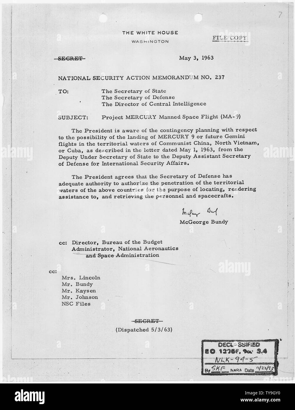 National Security Action Memorandum No. 237 Project MERCURY Manned Space Flight (MA-9); Scope and content:  Memorandum for Secretary of State, Secretary of Defense, Director, Central Intelligence Agency concerning the possible landing of MERCURY 9 in the territorial waters of Communist China. - Stock Image