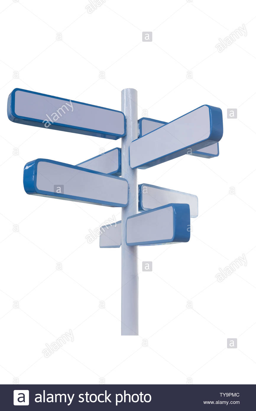 3d road sign on white background - Stock Image
