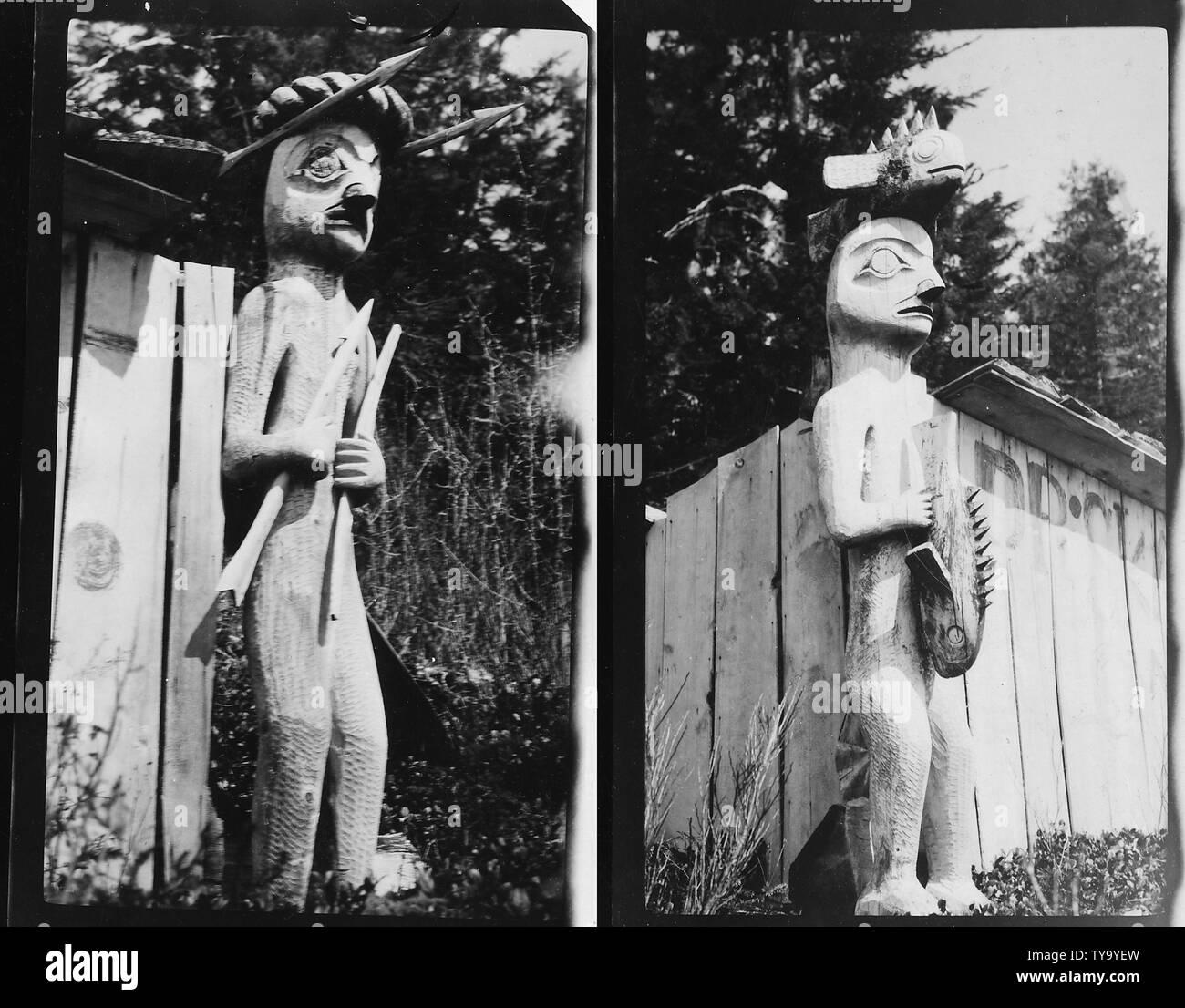 Notation on back of photo: Grave posts? Kake, Alaska. - Stock Image