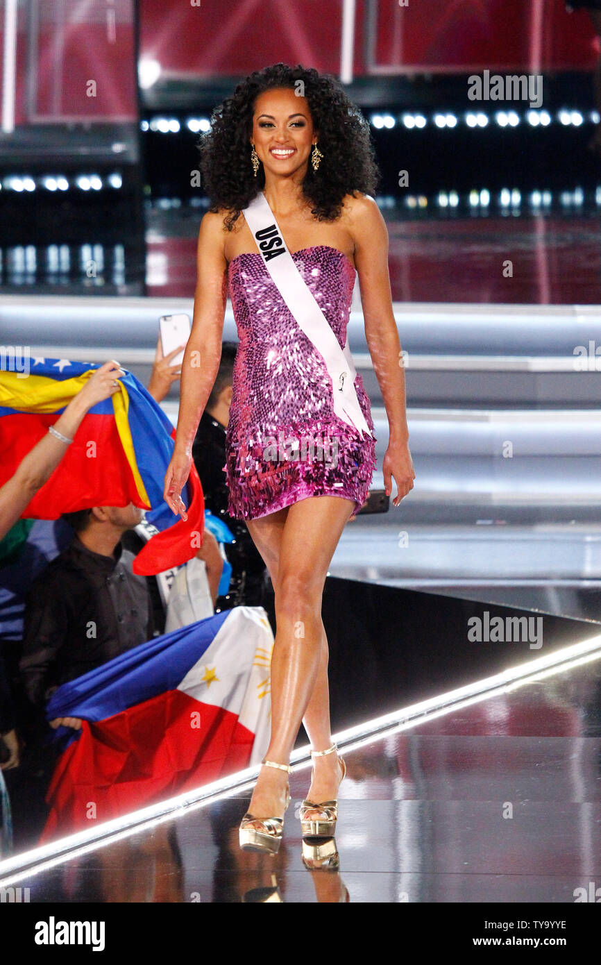 Miss USA, Kara McCullough walks on stage during introductions for the 66th Miss Universe pageant competition at The Axis at Planet Hollywood in Las Vegas, Nevada on November 26, 2017. Photo by James Atoa/UPI Stock Photo