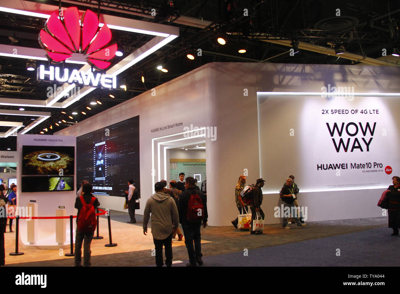 A view of the electronic manufacture, Huawei's booth displaying their 'Wow Way' marketing slogan of their Mate10 Pro smartphone and to familiarize customers with the pronunciation of their name, during the 2018 International CES, at the Las Vegas Convention Center in Las Vegas, Nevada, January 9, 2018. Photo by James Atoa/UPI - Stock Image