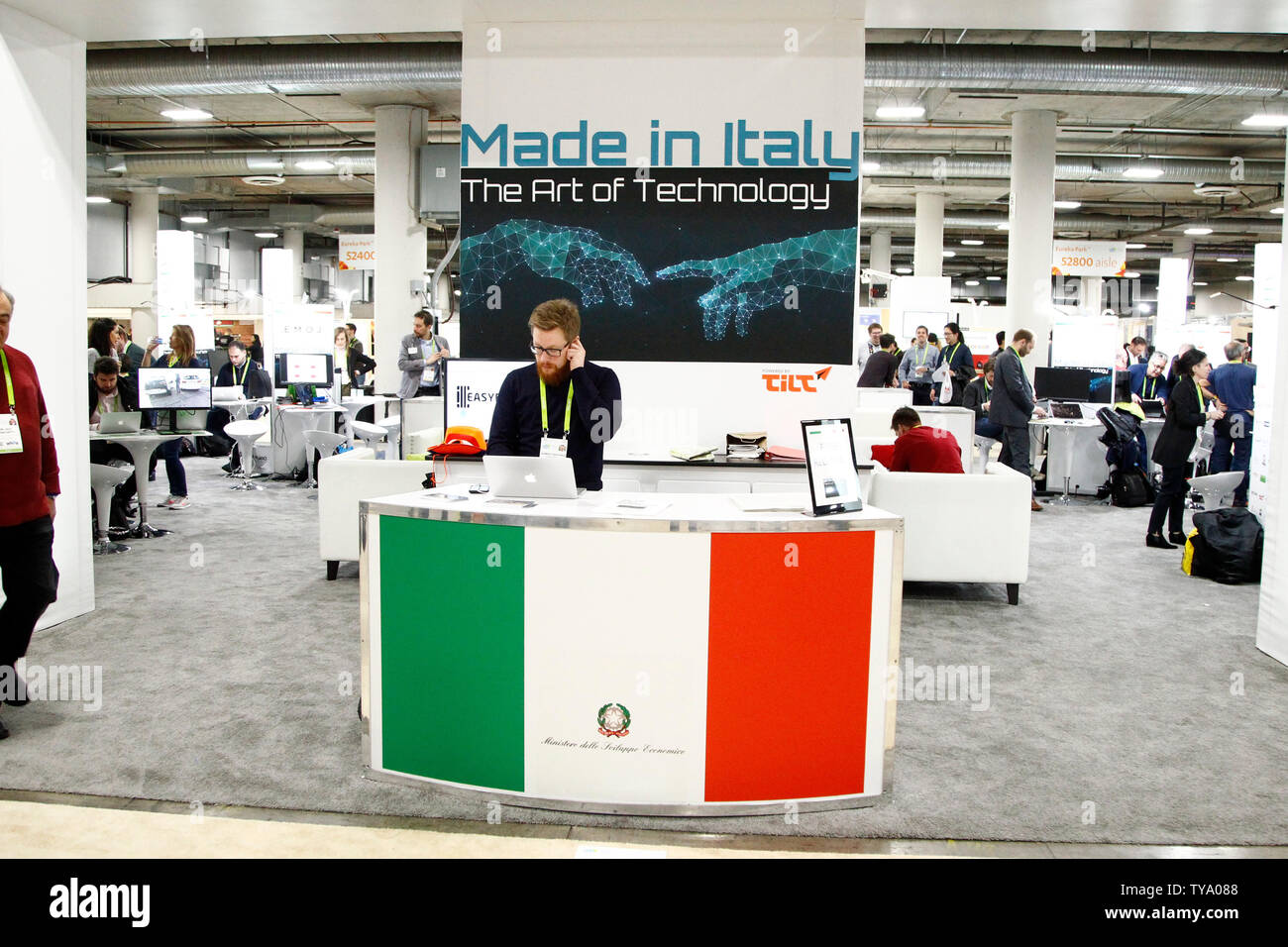 A view of the Italy section of tech exhibitors at 'Eureka