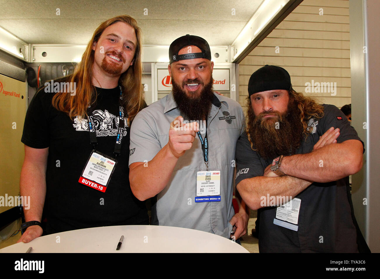 joel buschmann with reality tv stars dave heavy d sparks and diesel dave kiley of diesel https www alamy com joel buschmann with reality tv stars dave heavy d sparks and diesel dave kiley of diesel brothers take a break from signing autographs to pose for a photo during the 2018 sema show at the las vegas convention center in las vegas nevada october 30 2018 photo by james atoaupi image257763078 html