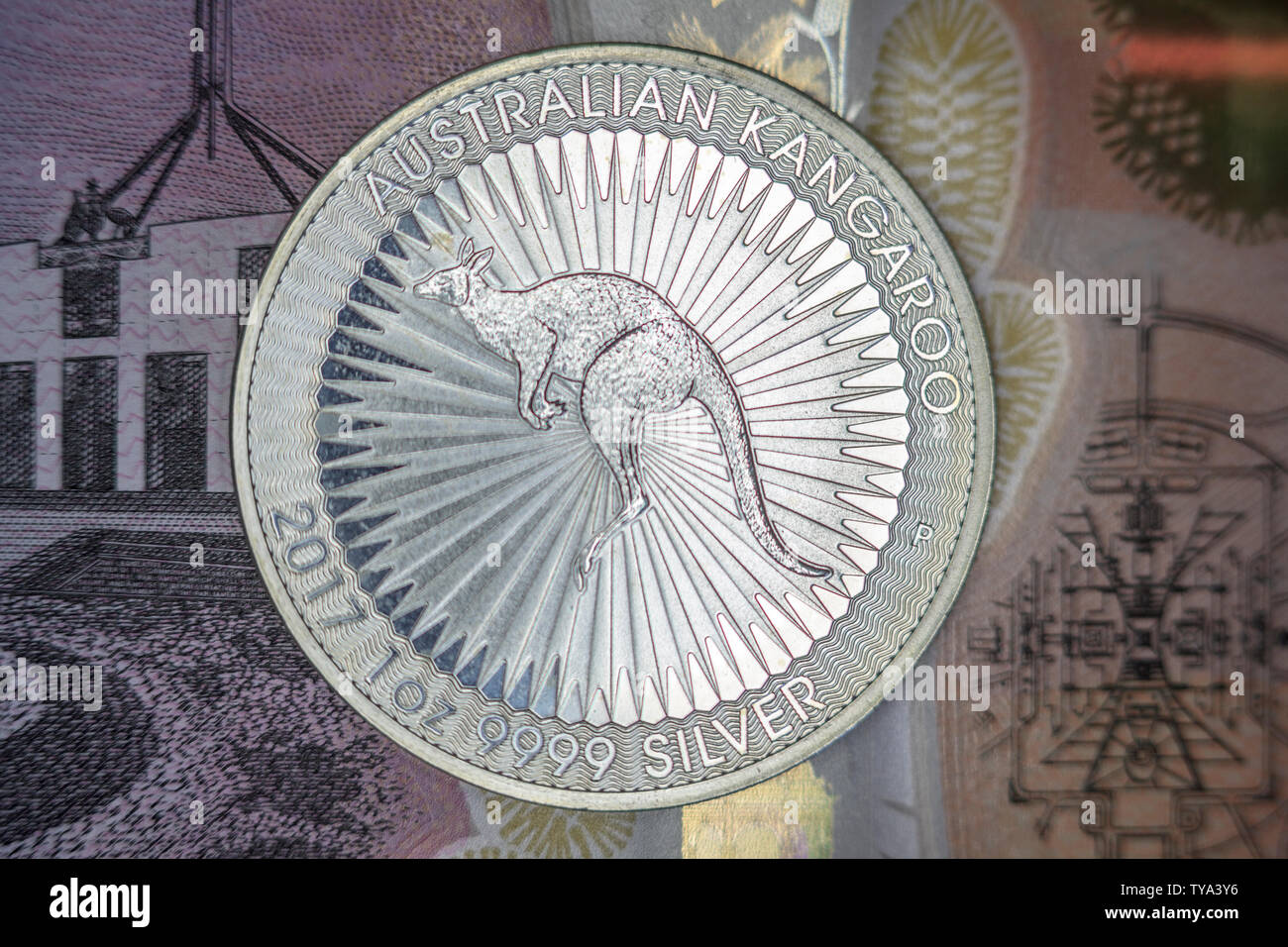 silver coin on banknote - Stock Image
