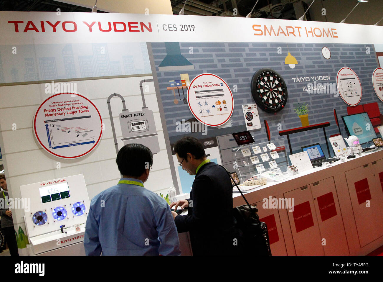 A view of the Taiyo Yuden booth on display during the 2019 International CES, at the Sands Convention Center in Las Vegas, Nevada, January 8, 2019. The Japanese materials and electronics company helped pioneer recordable CD technology and now ventures into the Smart Home industry. Photo by James Atoa/UPI - Stock Image