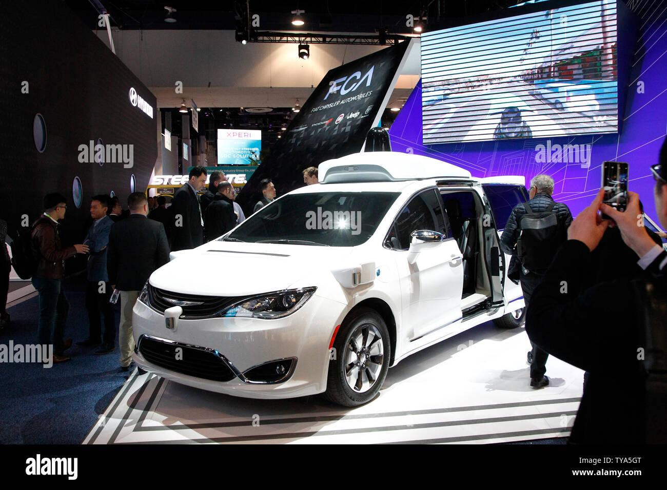 An autonomous self driving Chrysler Pacifica minivan by